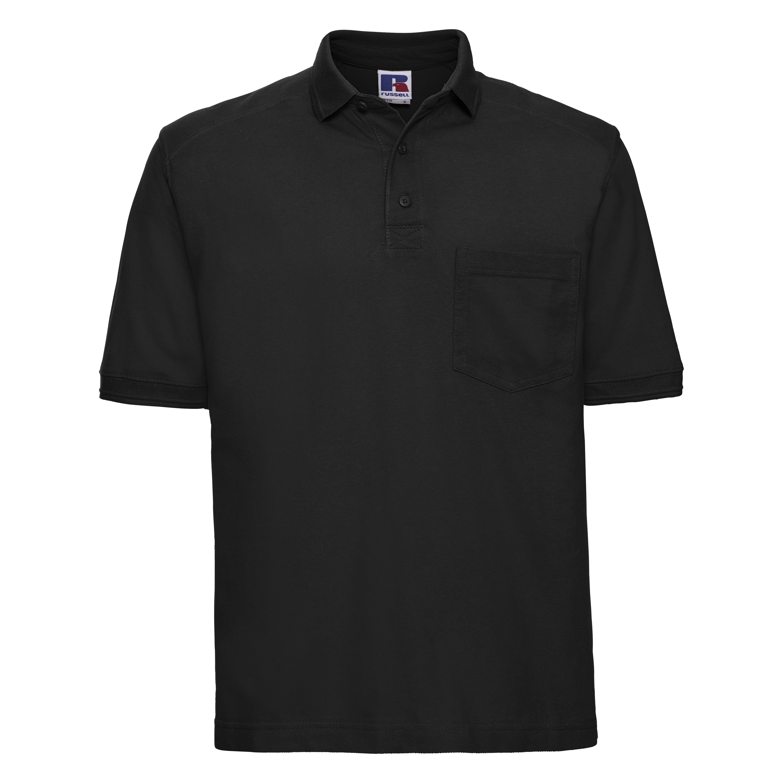 Russell Workwear Mens Heavy Duty Short Sleeve Polo Shirt (XS) (Black)