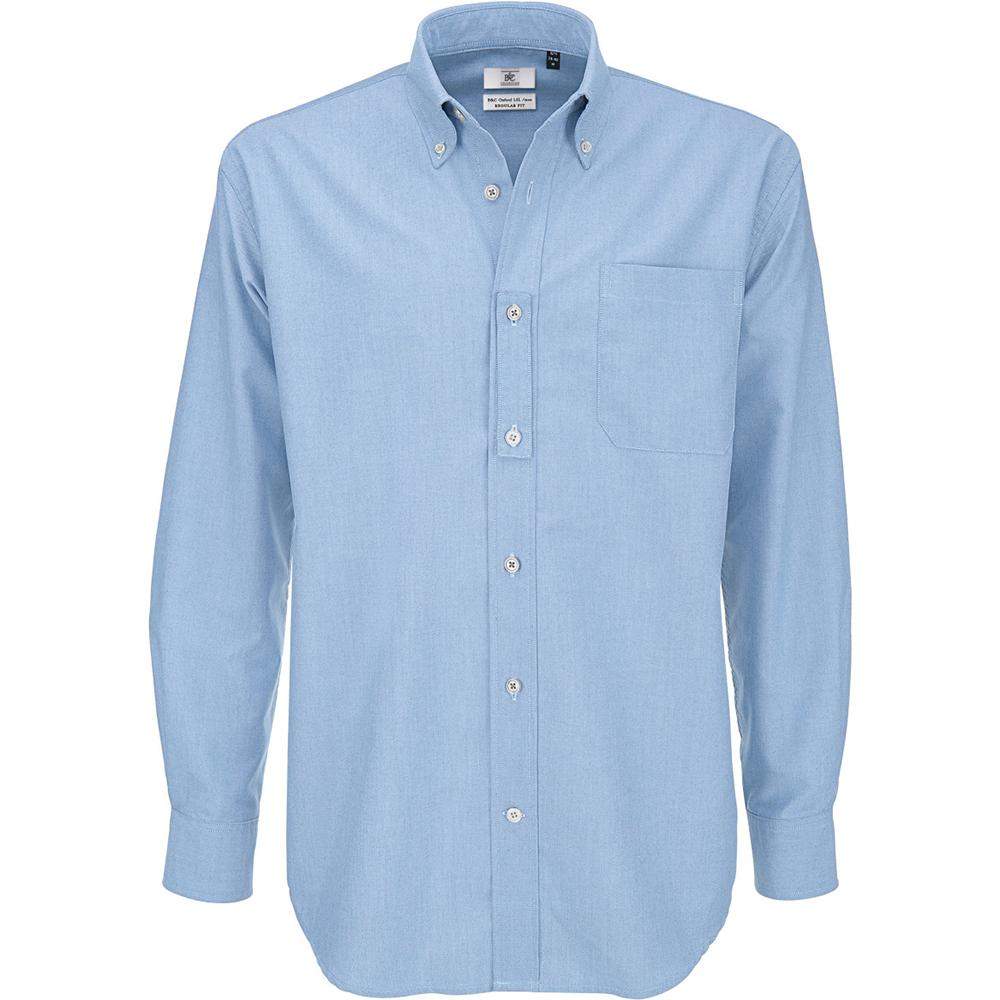 B&C Mens Oxford Long Sleeve Shirt / Mens Shirts (6XL) (Oxford Blue)