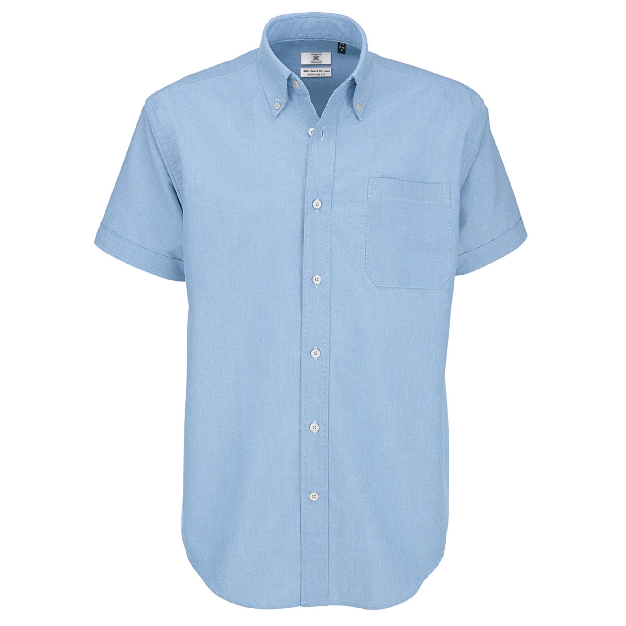 B&C Mens Oxford Short Sleeve Shirt / Mens Shirts (M) (Oxford Blue)