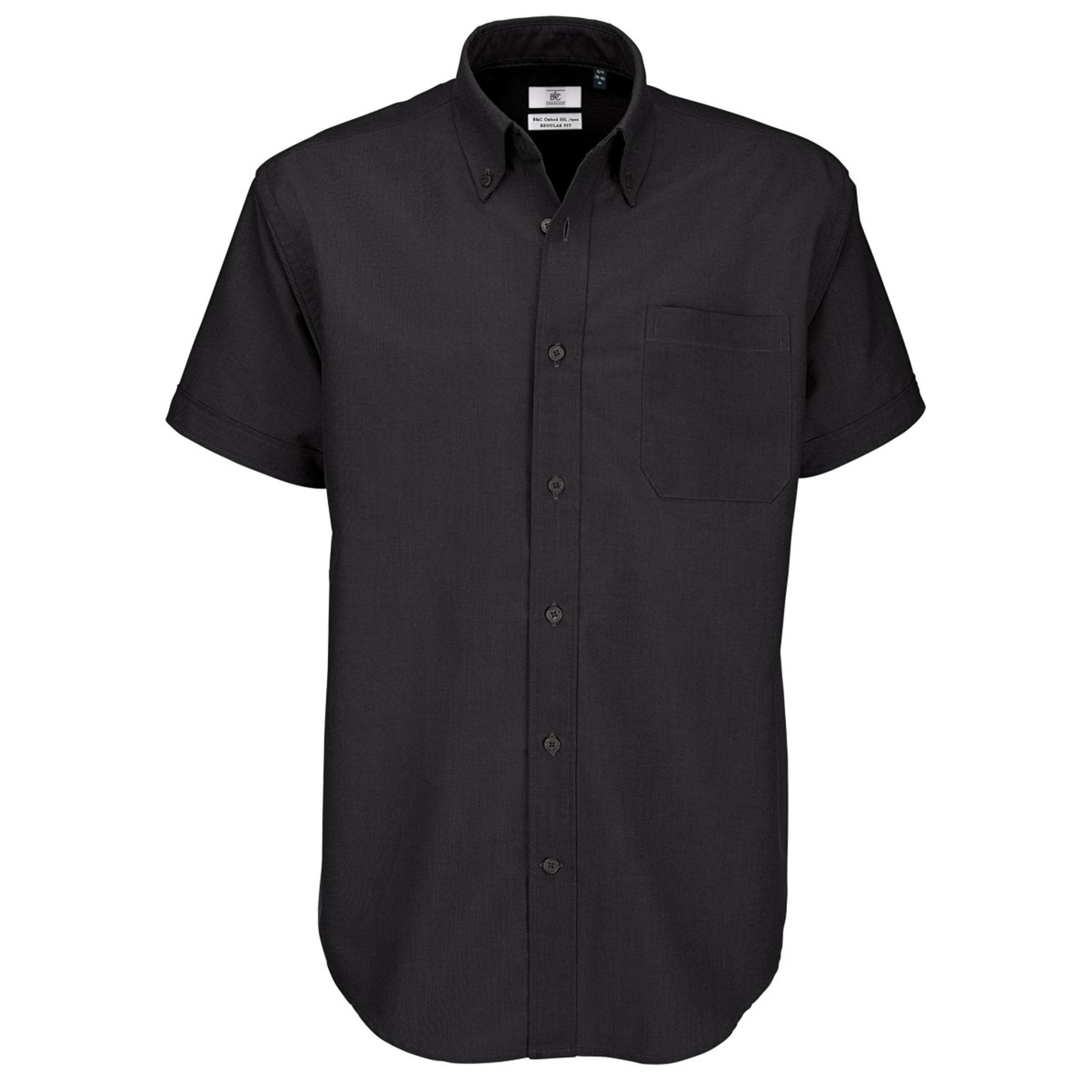 B&C Mens Oxford Short Sleeve Shirt / Mens Shirts (S) (Black)