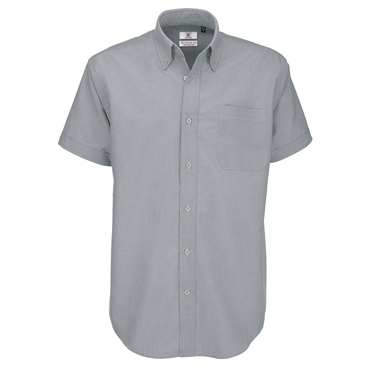 B&C Mens Oxford Short Sleeve Shirt / Mens Shirts (2XL) (Silver Moon)