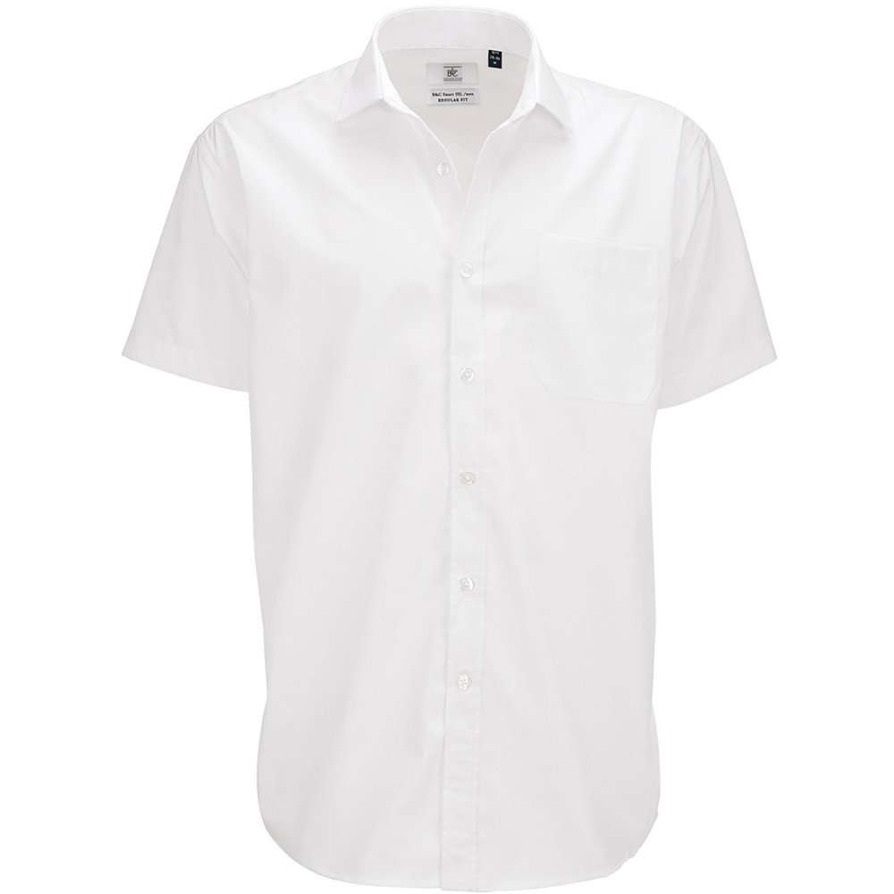 B&C Mens Smart Short Sleeve Shirt / Mens Shirts (S) (White)
