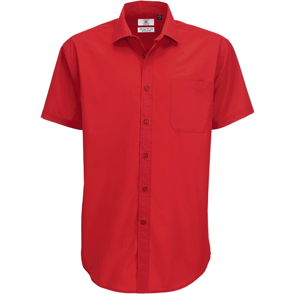 B&C Mens Smart Short Sleeve Shirt / Mens Shirts (3XL) (Deep Red)