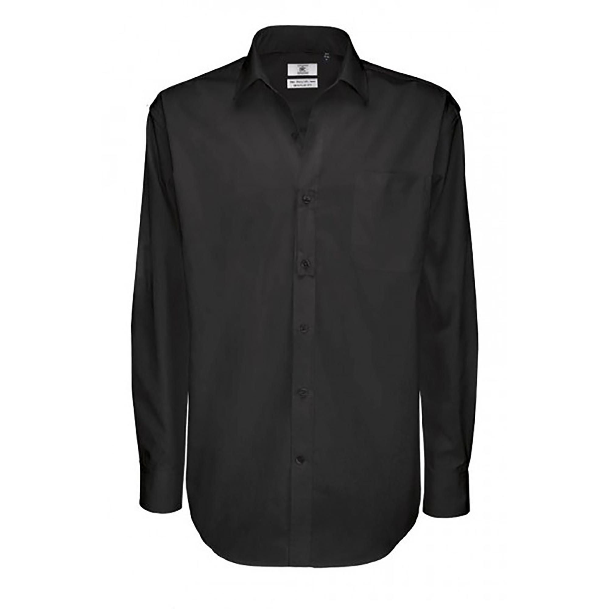 B&C Mens Sharp Twill Cotton Long Sleeve Shirt / Mens Shirts (4XL) (Black)