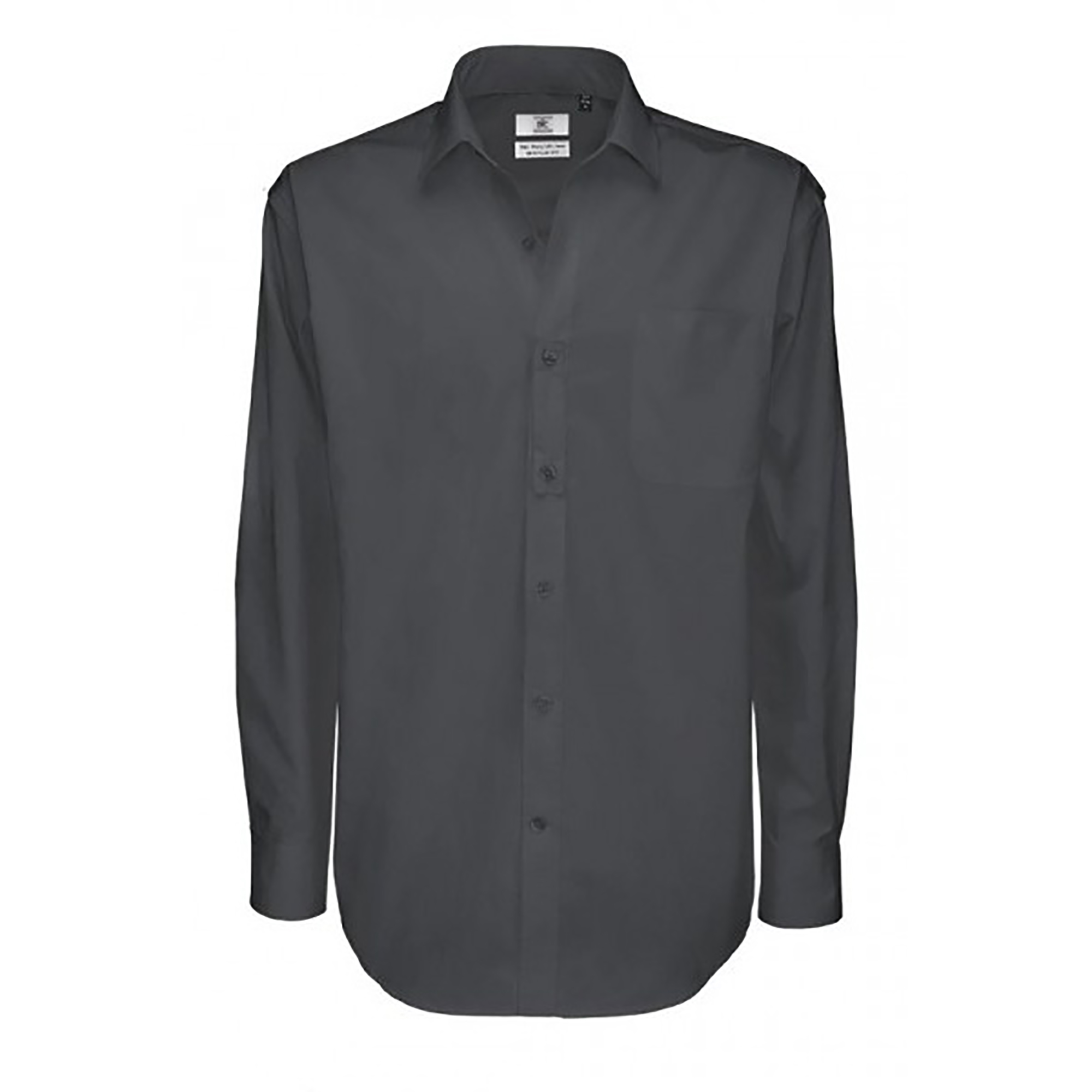 B&C Mens Sharp Twill Cotton Long Sleeve Shirt / Mens Shirts (S) (Dark Grey)