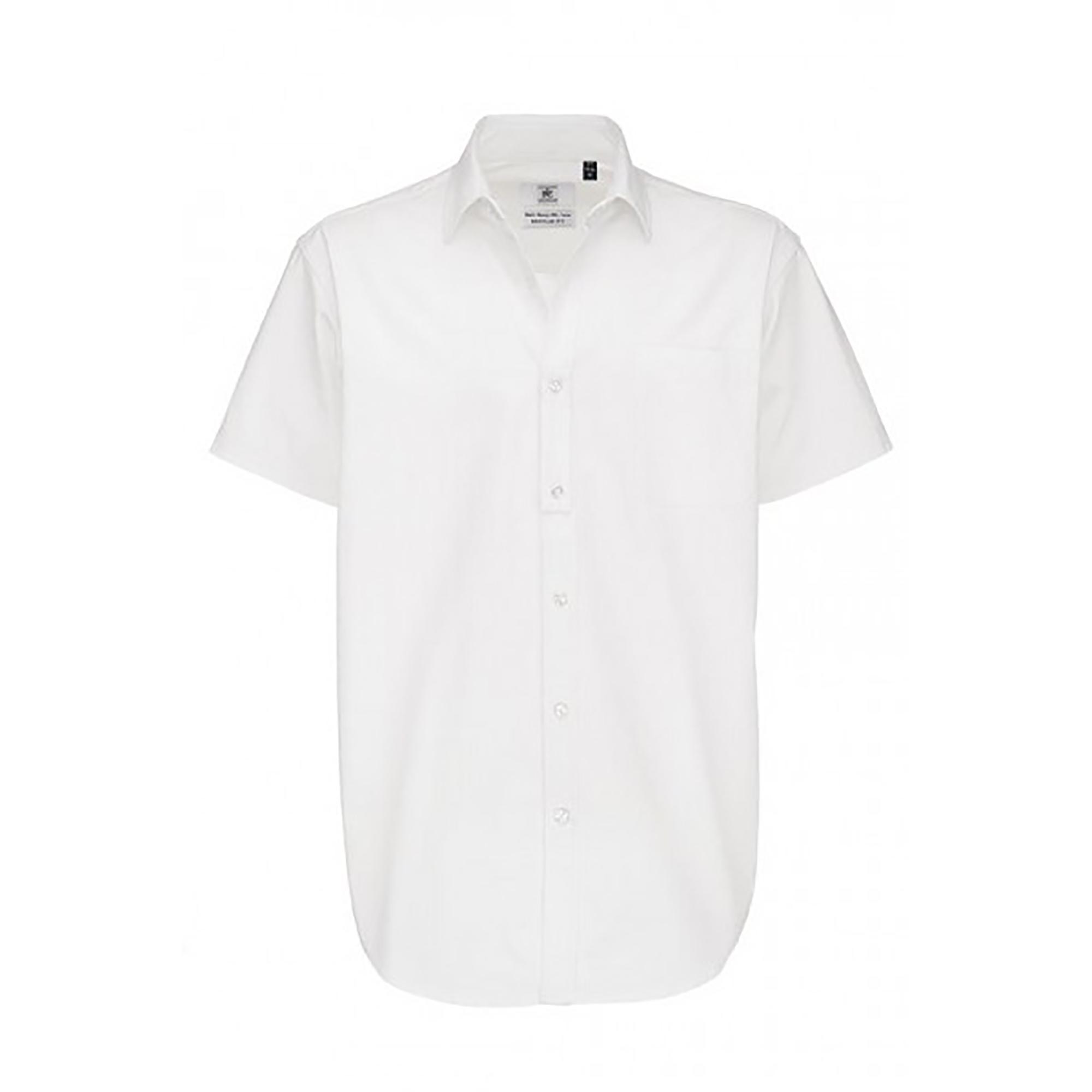 B&C Mens Sharp Twill Short Sleeve Shirt / Mens Shirts (XL) (White)