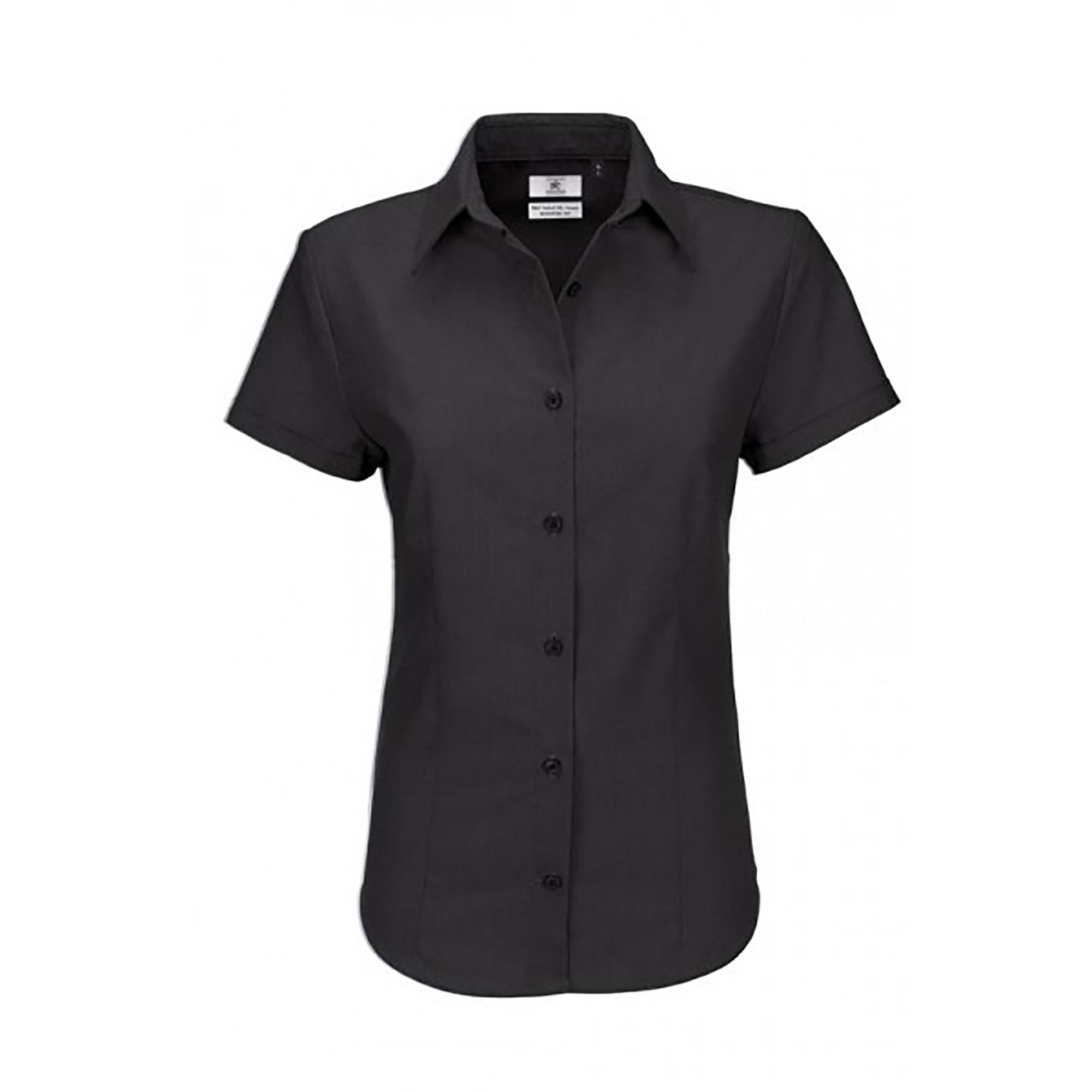 B&C Ladies Oxford Short Sleeve Shirt / Ladies Shirts (3XL) (Silver Moon)