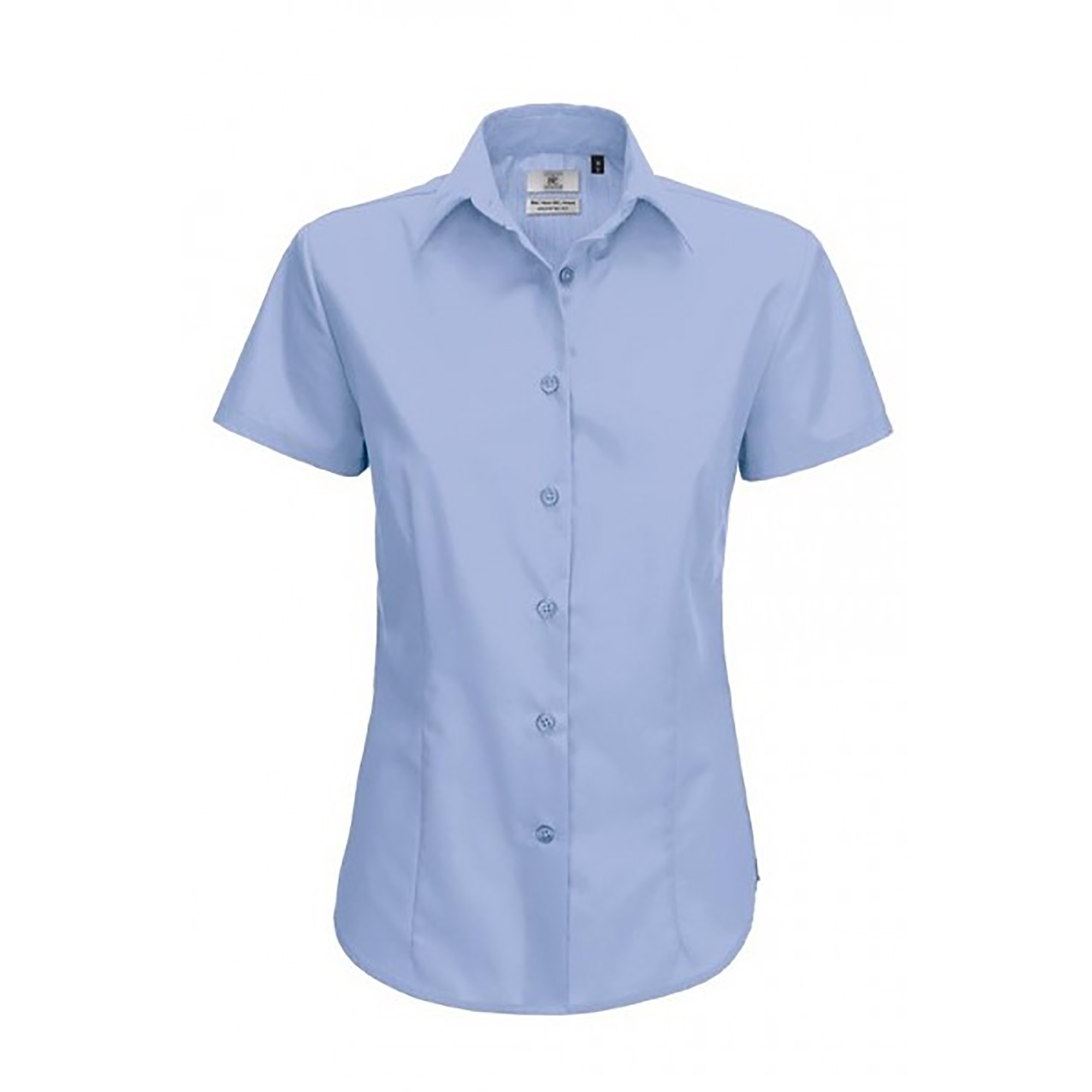 B&C Ladies Smart Short Sleeve Poplin Shirt / Ladies Shirts (4XL) (Black)
