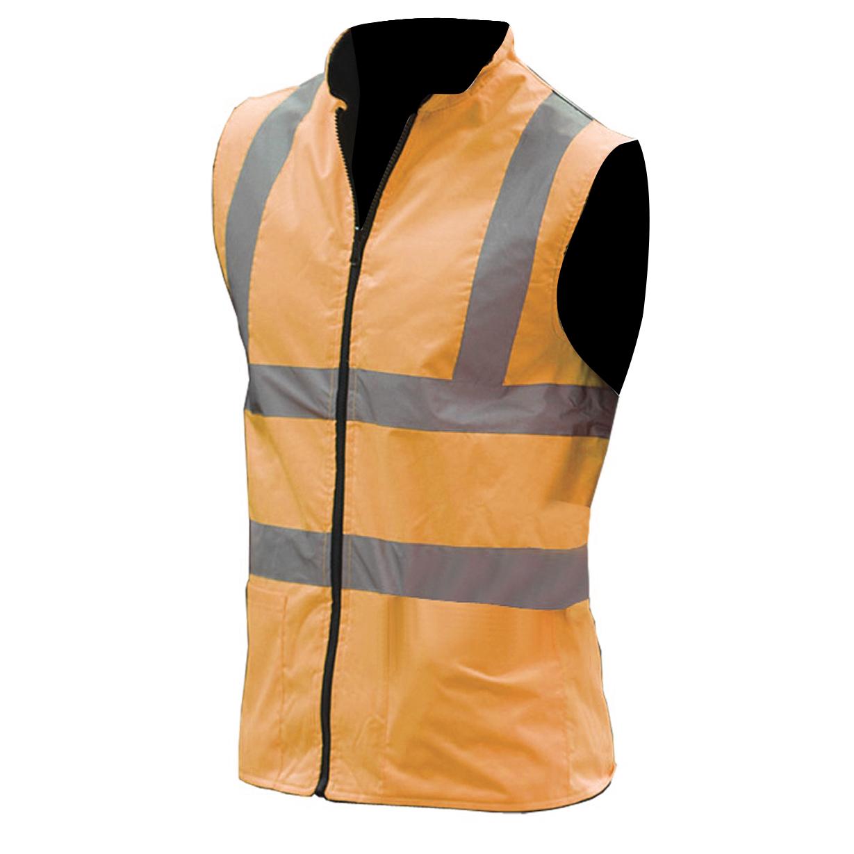 Yoko Mens Workwear Hi-Vis Reversible Fleece Vest / Jacket (3XL) (Hi Vis Orange)