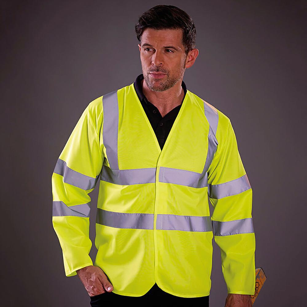 Yoko Mens Hi-Vis Long Sleeve Waistcoat / Jacket (S) (Hi Vis Orange)