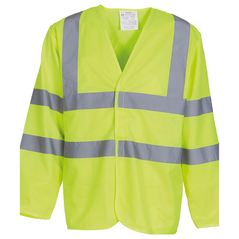 Yoko Mens Hi-Vis Long Sleeve Waistcoat / Jacket (M) (Hi-Vis Yellow)