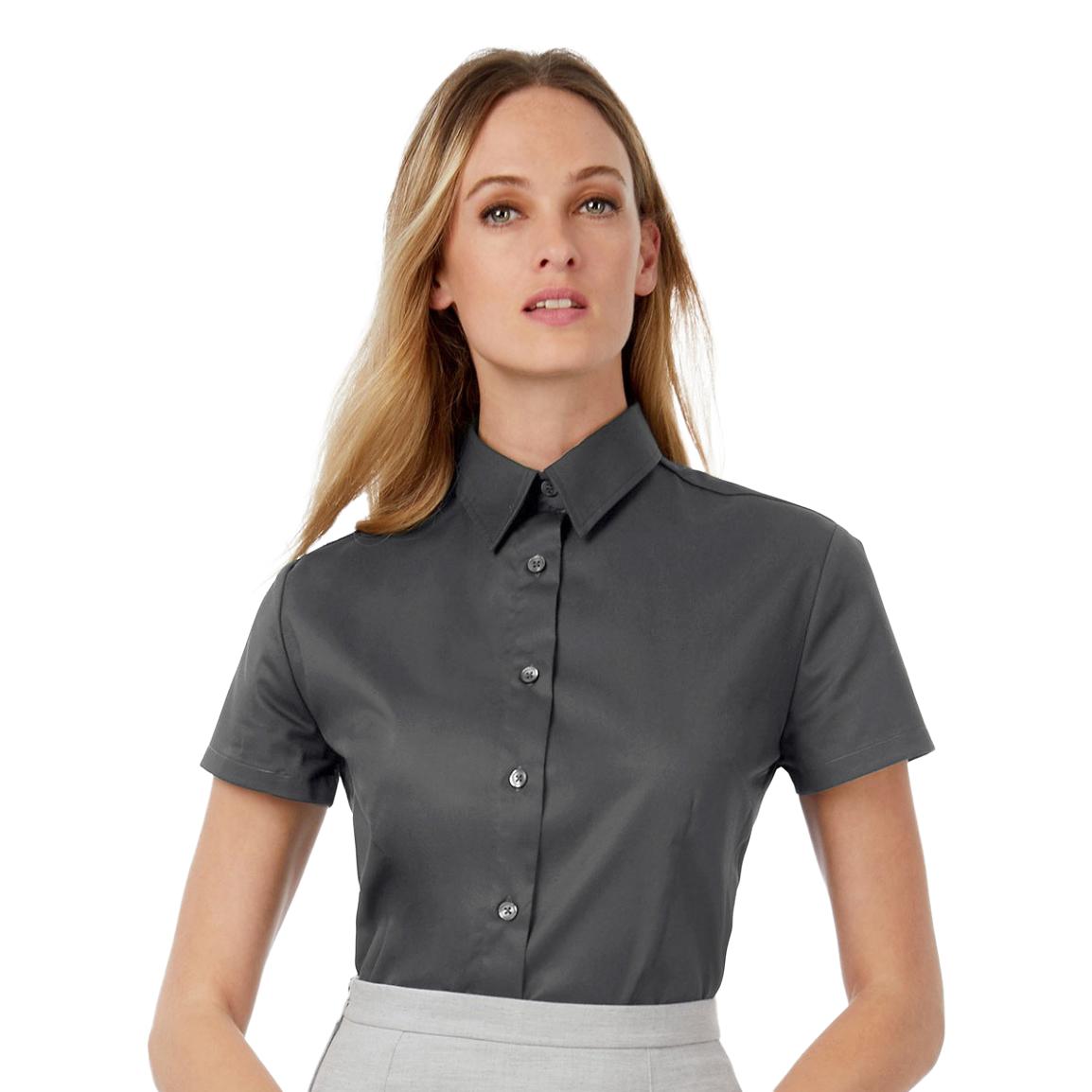 B&C Womens/Ladies Sharp Twill Short Sleeve Shirt (XL) (Deep Red)