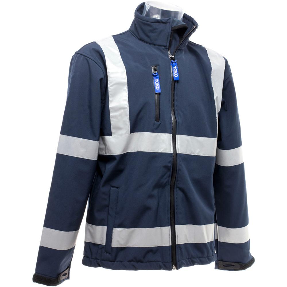 Yoko Mens Hi-Vis Sofshell Jacket (M) (Navy Blue)