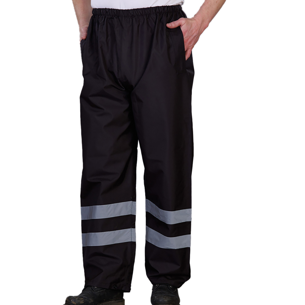 Yoko Mens Hi-Vis Waterproof Contractor Over Trousers (L) (Navy Blue)
