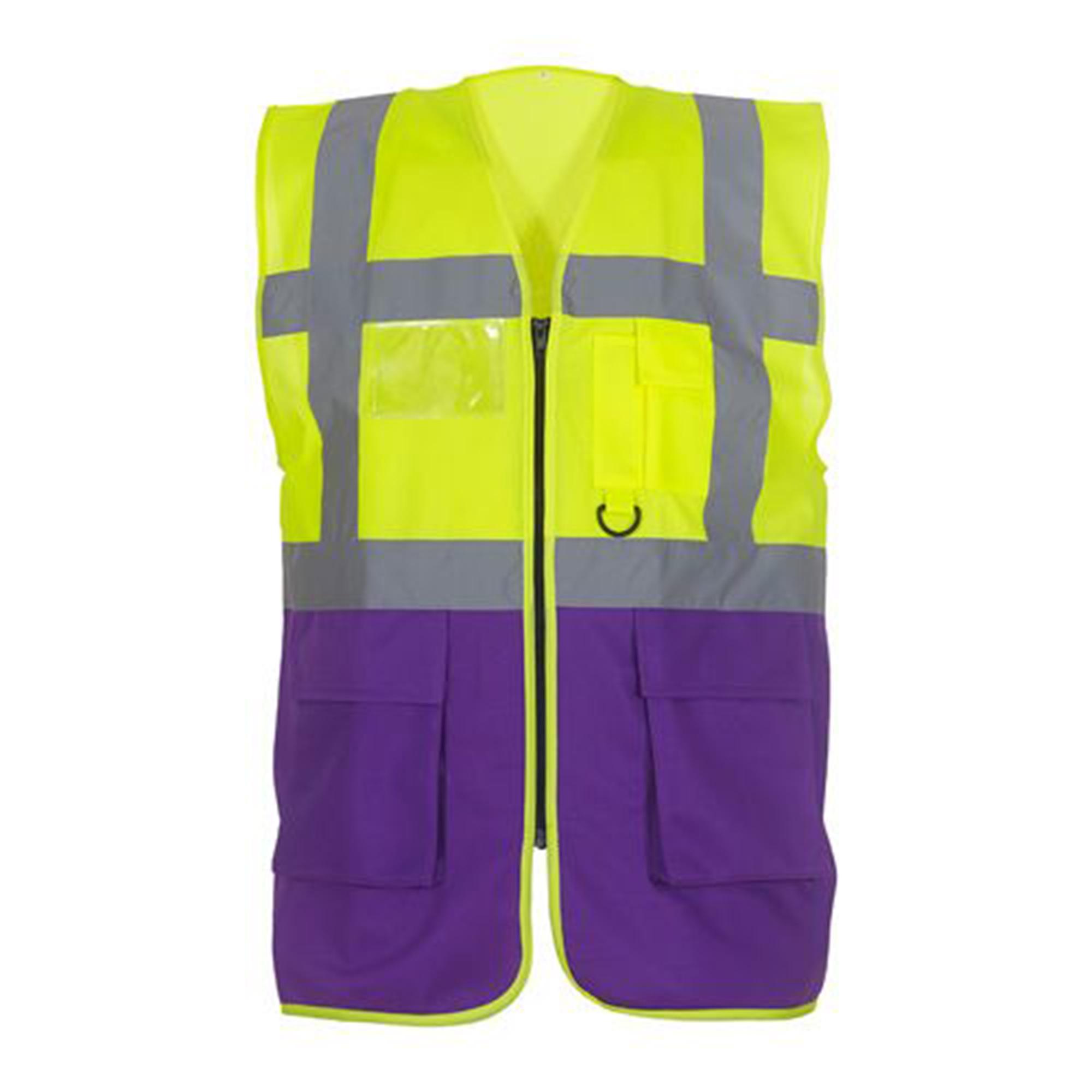 Yoko Hi-Vis Premium Executive/Manager Waistcoat / Jacket (3XL) (Hi Vis Yellow/Purple)