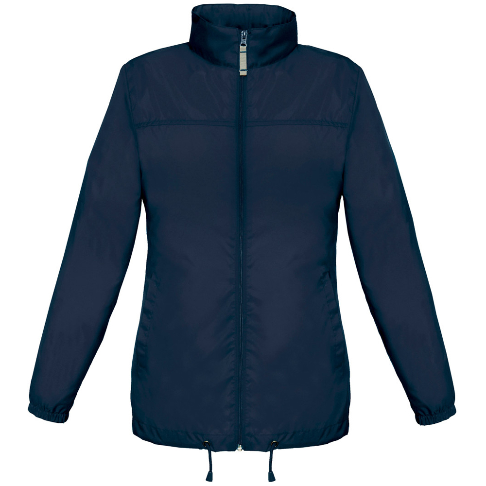 B&C Womens/Ladies Sirocco Lightweight Windproof, Showerproof & Water Repellent Jacket (S) (Navy Blue)