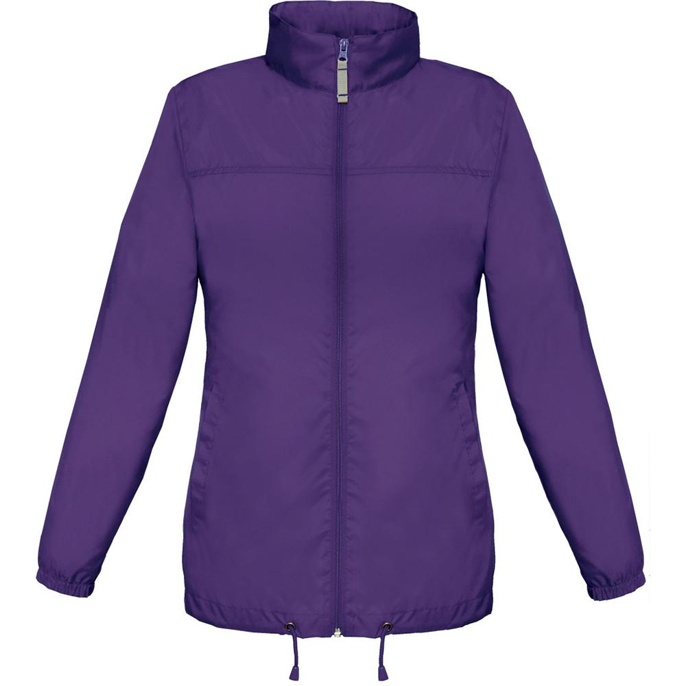 B&C Womens/Ladies Sirocco Lightweight Windproof, Showerproof & Water Repellent Jacket (S) (Purple)