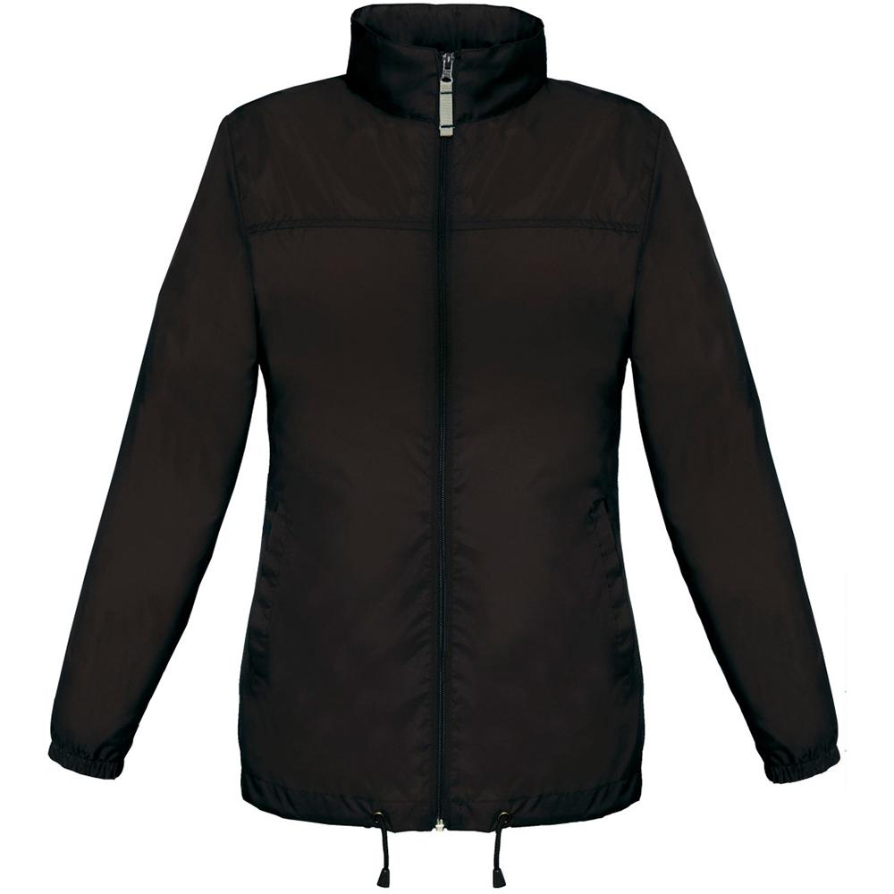B&C Womens/Ladies Sirocco Lightweight Windproof, Showerproof & Water Repellent Jacket (L) (Black)