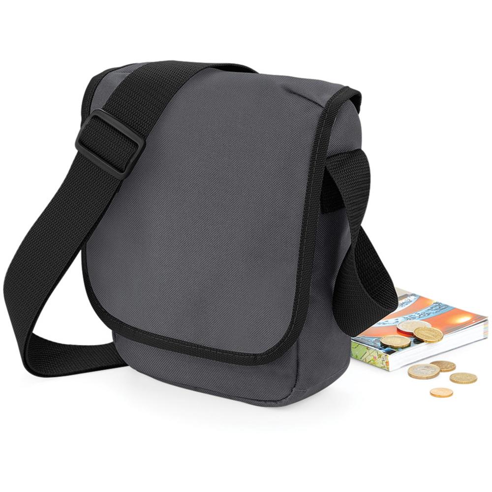 Bagbase Mini Adjustable Reporter / Messenger Bag (2 Litres) (One Size) (Graphite Grey/Black)