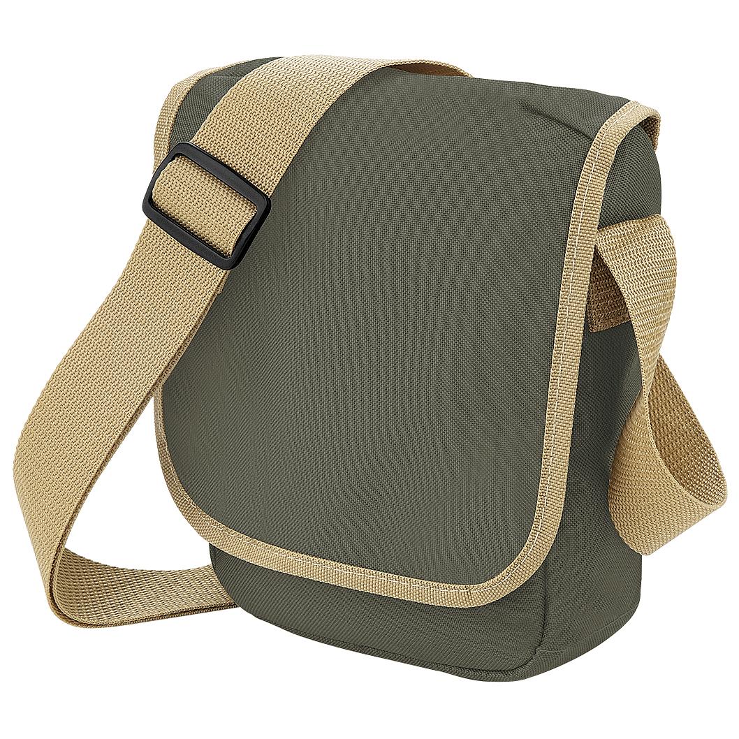 Bagbase Mini Adjustable Reporter / Messenger Bag (2 Litres) (One Size) (Olive/Caramel)