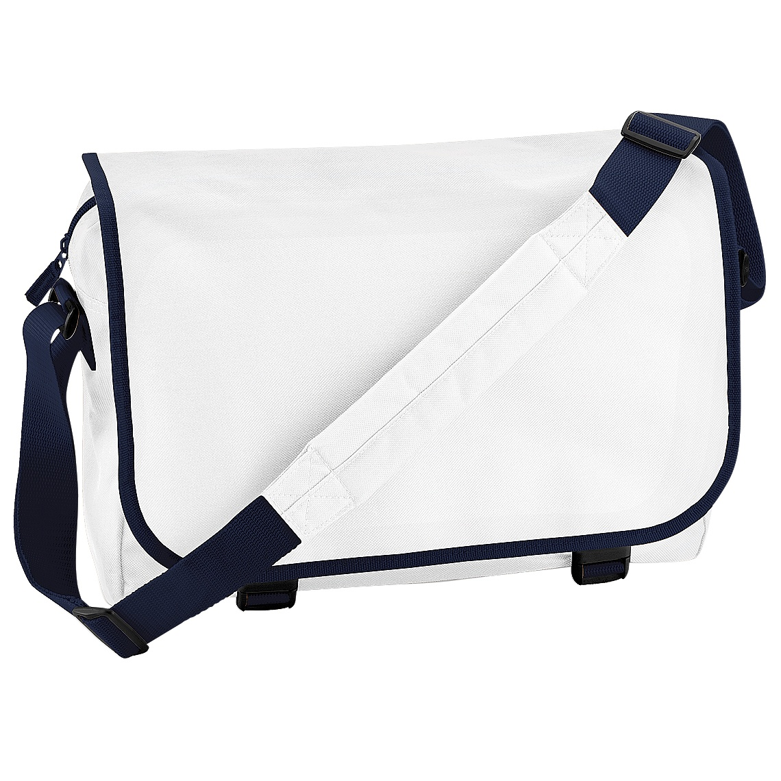 Bagbase Adjustable Messenger Bag (11 Litres) (One Size) (White/French Navy)