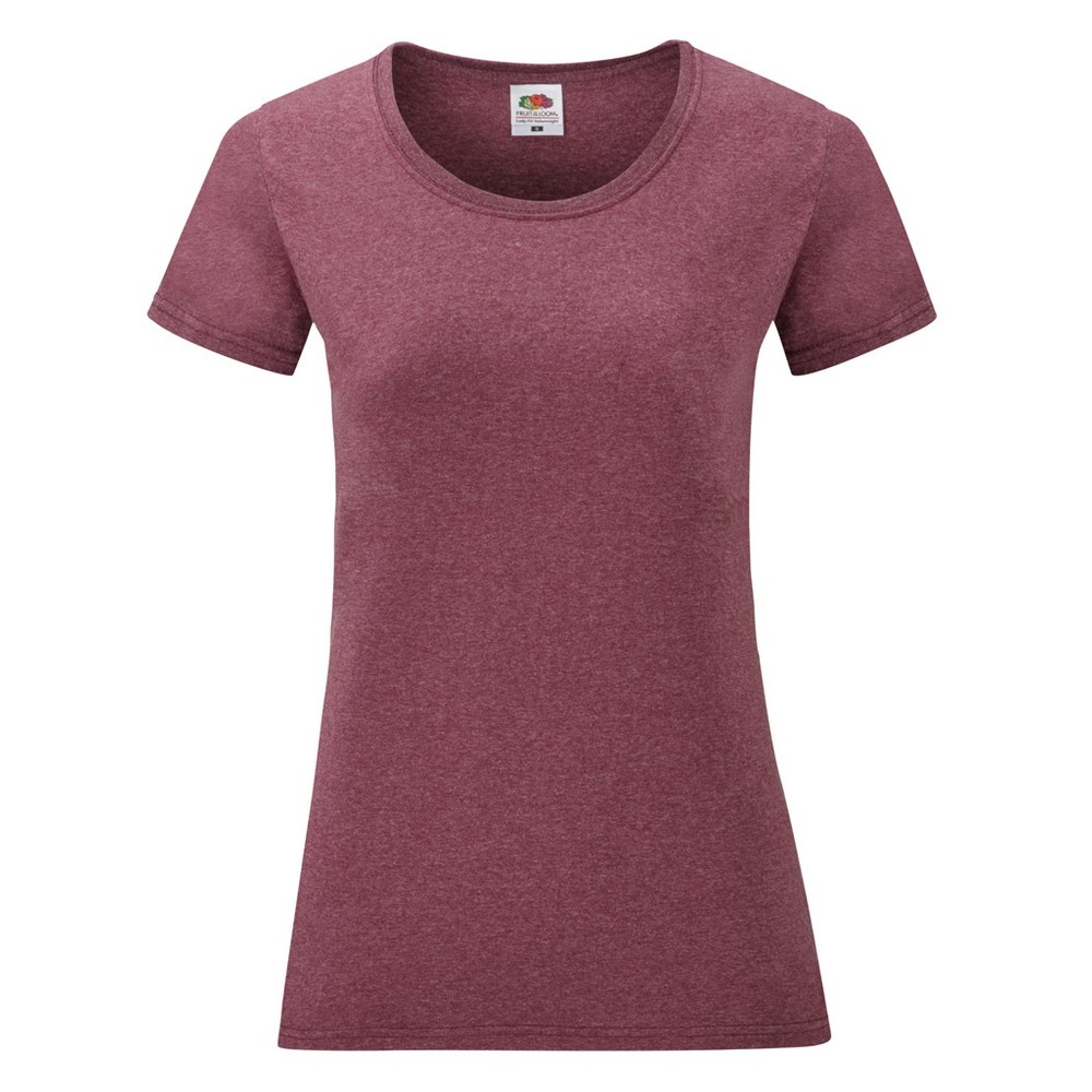 Fruit Of The Loom Ladies/Womens Lady-Fit Valueweight Short Sleeve T-Shirt (XS) (Heather Burgundy)