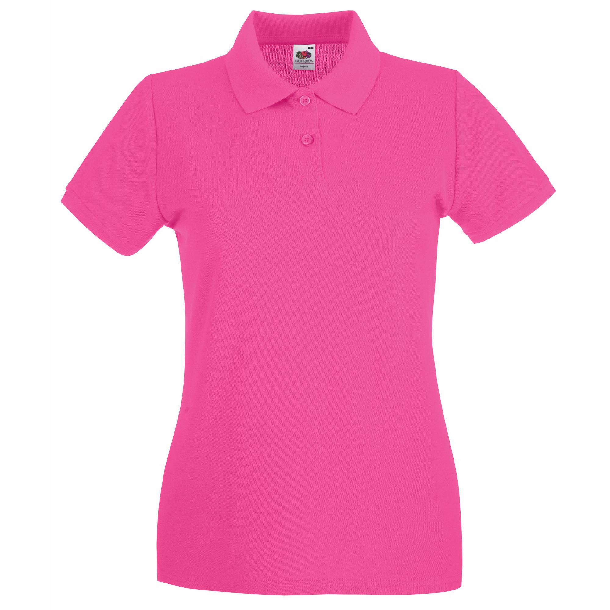 Fruit Of The Loom Ladies Lady-Fit Premium Short Sleeve Polo Shirt (S) (Fuchsia)