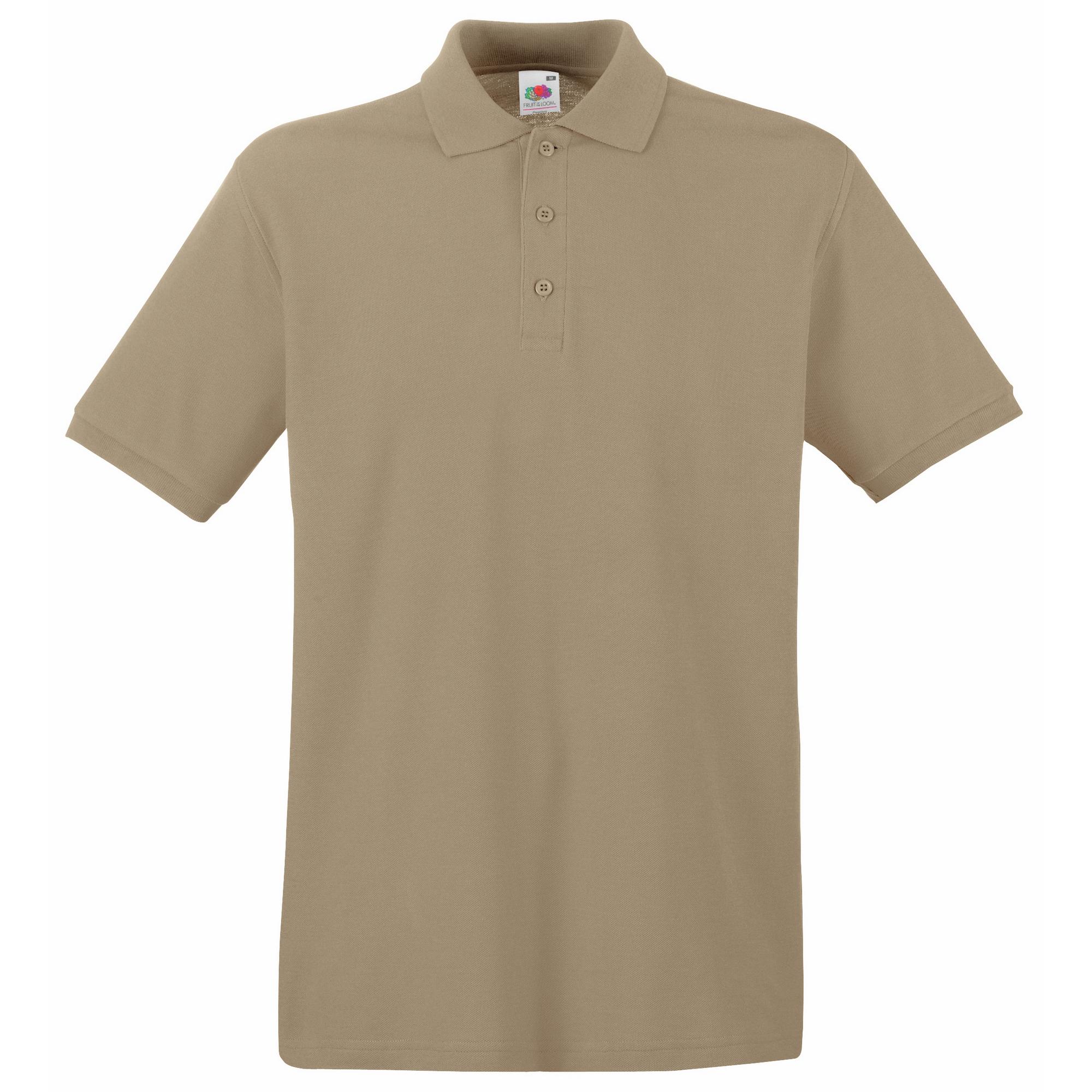 Fruit Of The Loom Premium Mens Short Sleeve Polo Shirt (2XL) (Black)