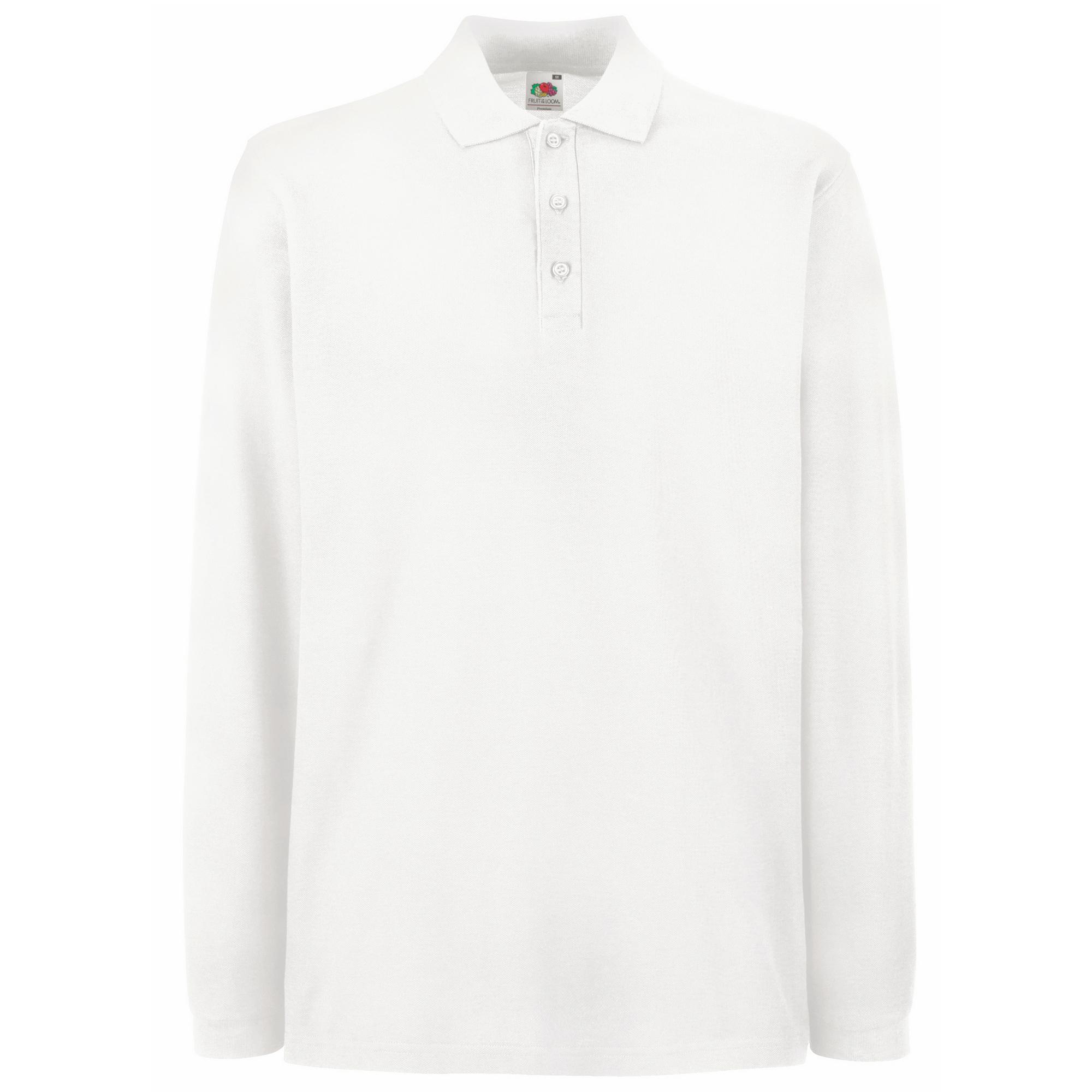 Fruit Of The Loom Mens Premium Long Sleeve Polo Shirt Ash Grey M Ebay