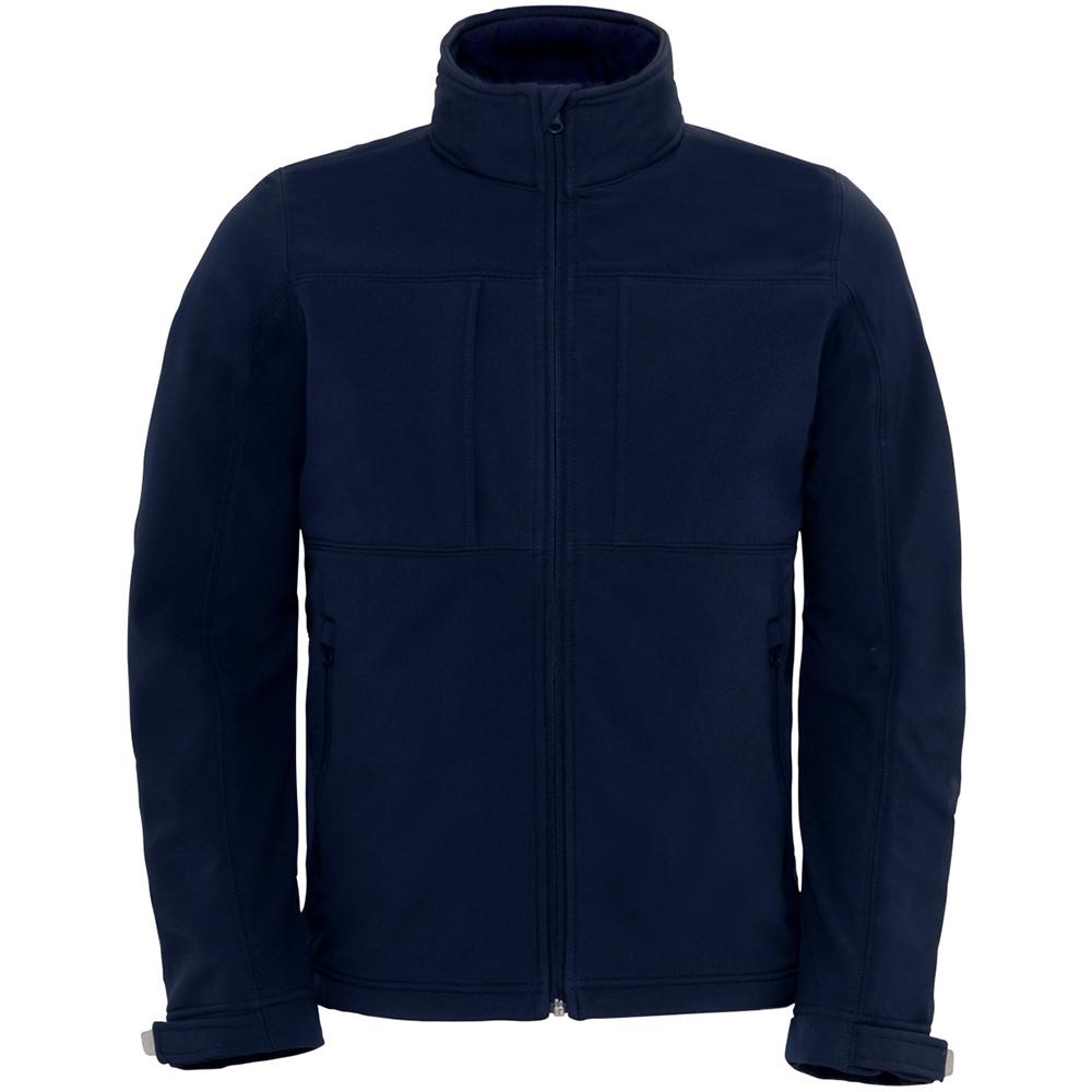 B&C Mens Hooded Softshell Breathable, Waterproof & Windproof Jacket (Fleece Lining) (S) (Navy Blue)