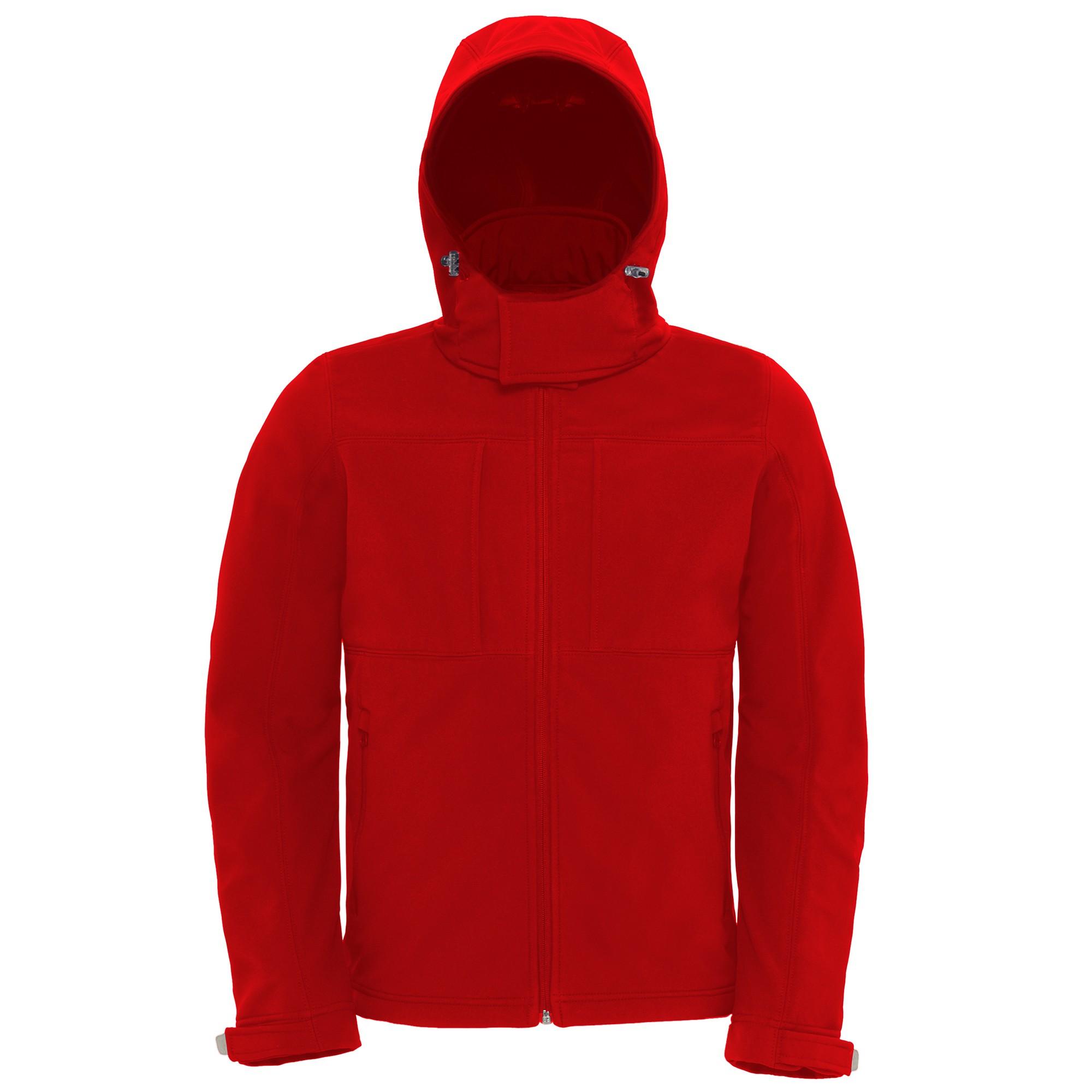 B&C Mens Hooded Softshell Breathable, Waterproof & Windproof Jacket (Fleece Lining) (S) (Black)