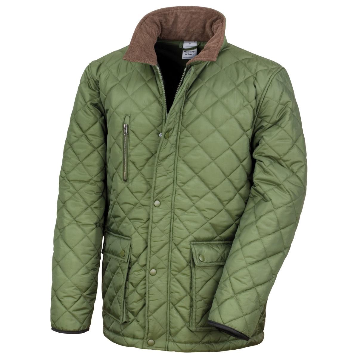 Result Mens Cheltenham Gold Fleece Lined Jacket (Water Repellent & Windproof) (2XL) (Olive)