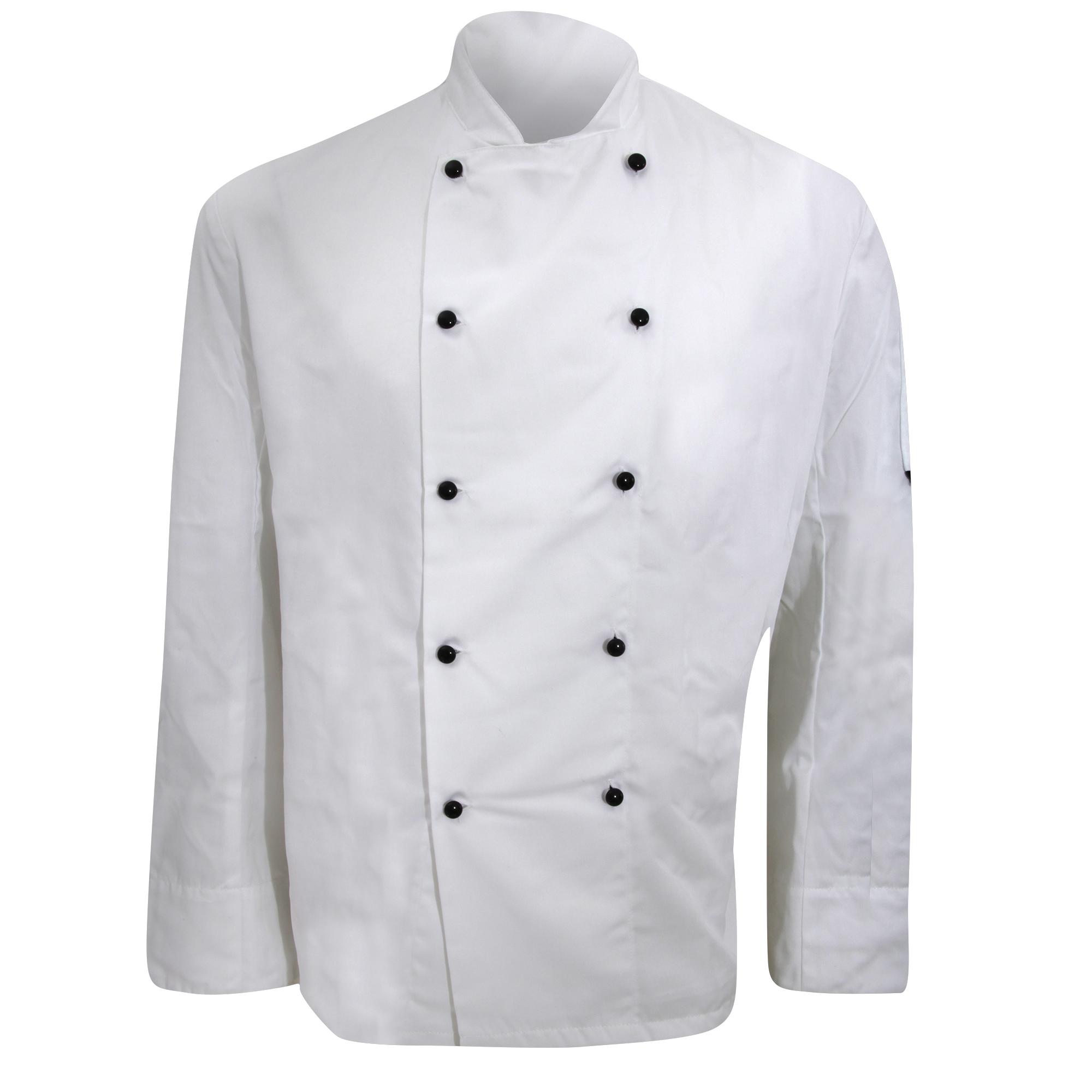 Dennys Mens Lightweight Long Sleeve Chefs Jacket / Chefswear (XXS) (White)
