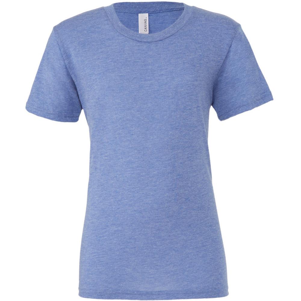 Canvas Mens Triblend Crew Neck Plain Short Sleeve T-Shirt (L) (Blue Triblend)