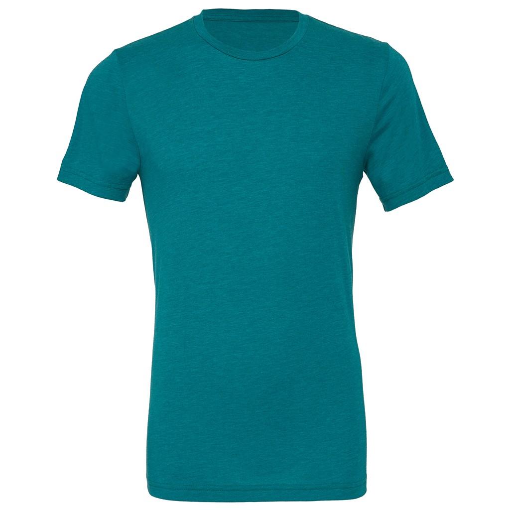 Canvas Mens Triblend Crew Neck Plain Short Sleeve T-Shirt (2XL) (Teal Triblend)