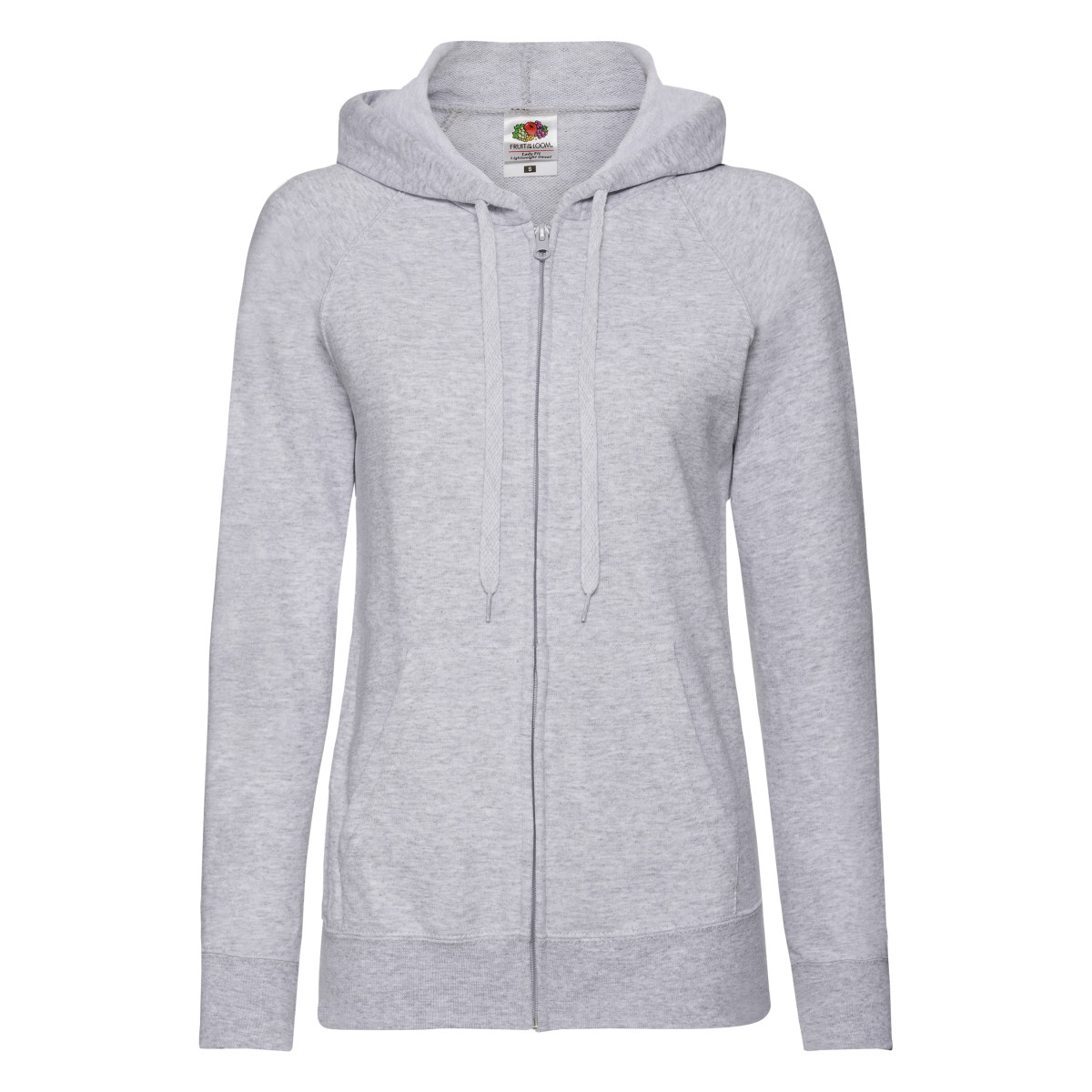 Fruit Of The Loom Ladies Fitted Lightweight Hooded Sweatshirts Jacket / Zoodie (240 GSM) (XL) (Heather Grey)