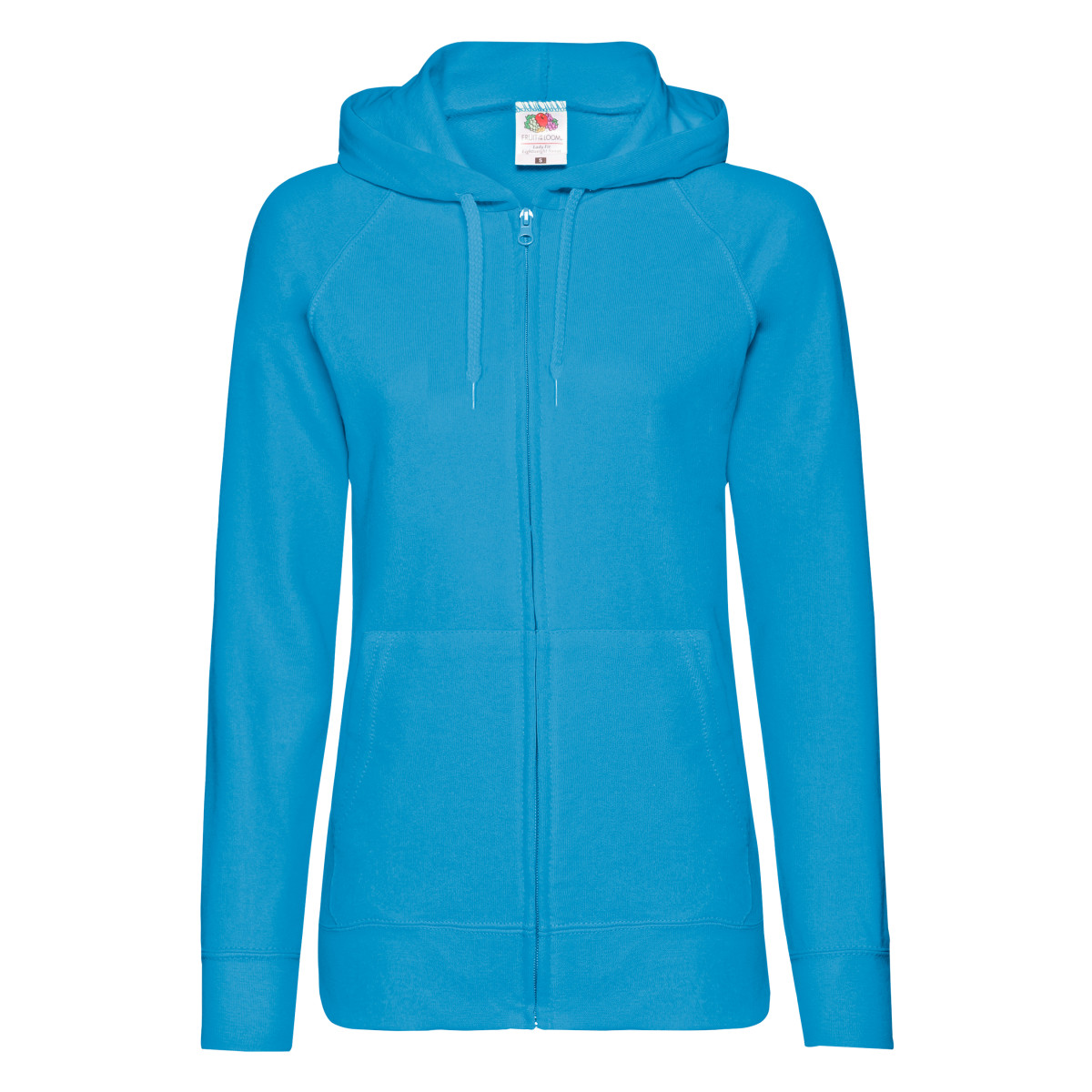 Fruit Of The Loom Ladies Fitted Lightweight Hooded Sweatshirts Jacket / Zoodie (240 GSM) (XS) (Azure Blue)