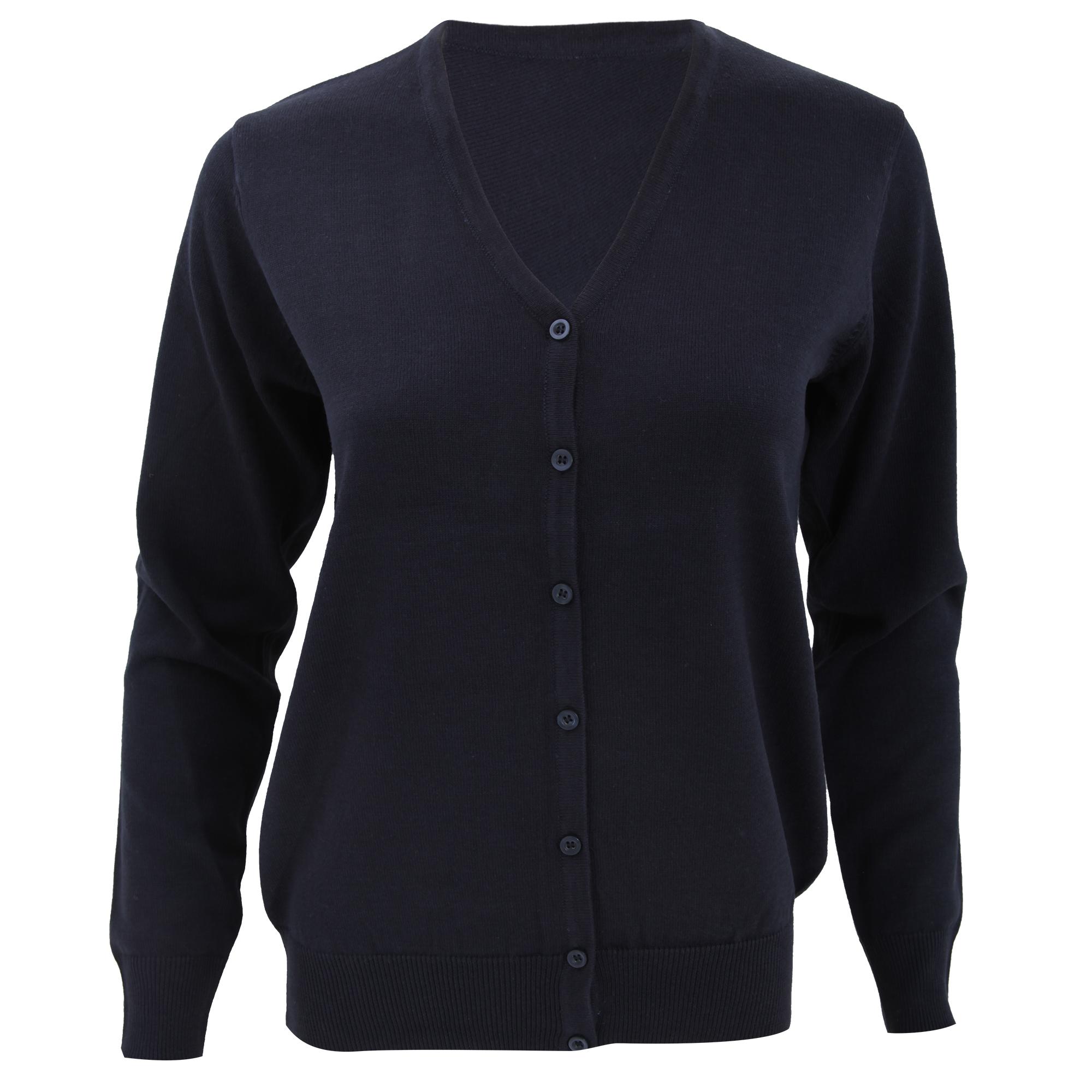 Kustom Kit Womens V-Neck Cardigan / Ladies Knitwear (6) (Navy Blue)