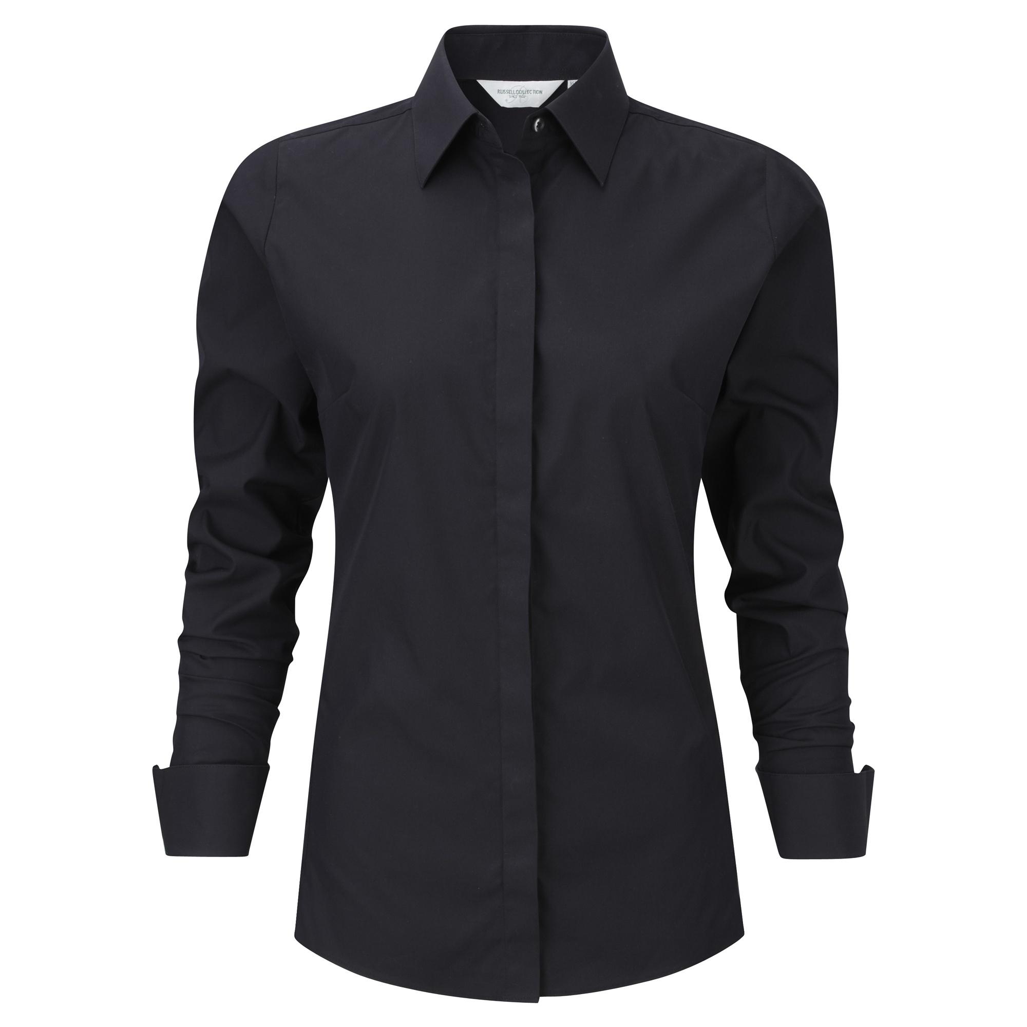 Russell Ladies/Womens Stretch Moisture Management Work Shirt (XL) (Black)