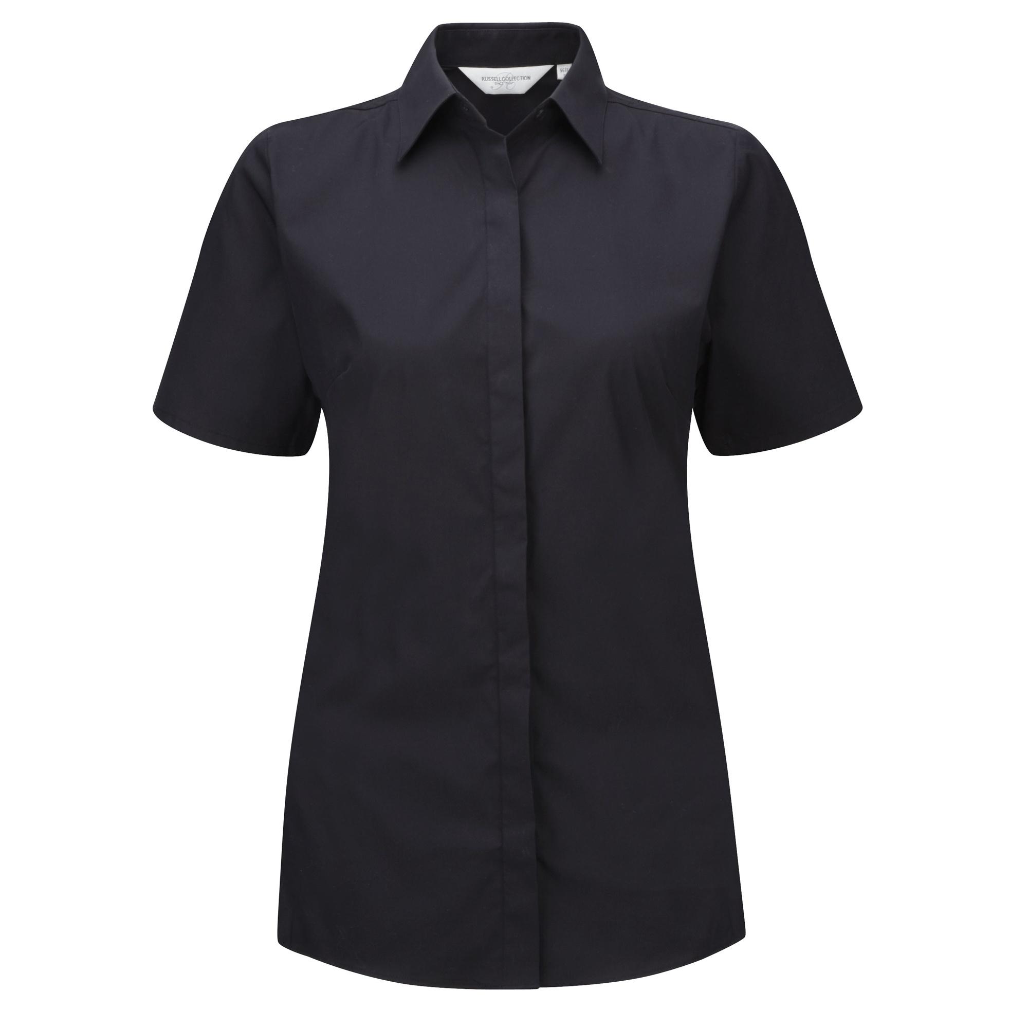 Russell Ladies Short Sleeve Stretch Moisture Management Work Shirt (L) (Black)
