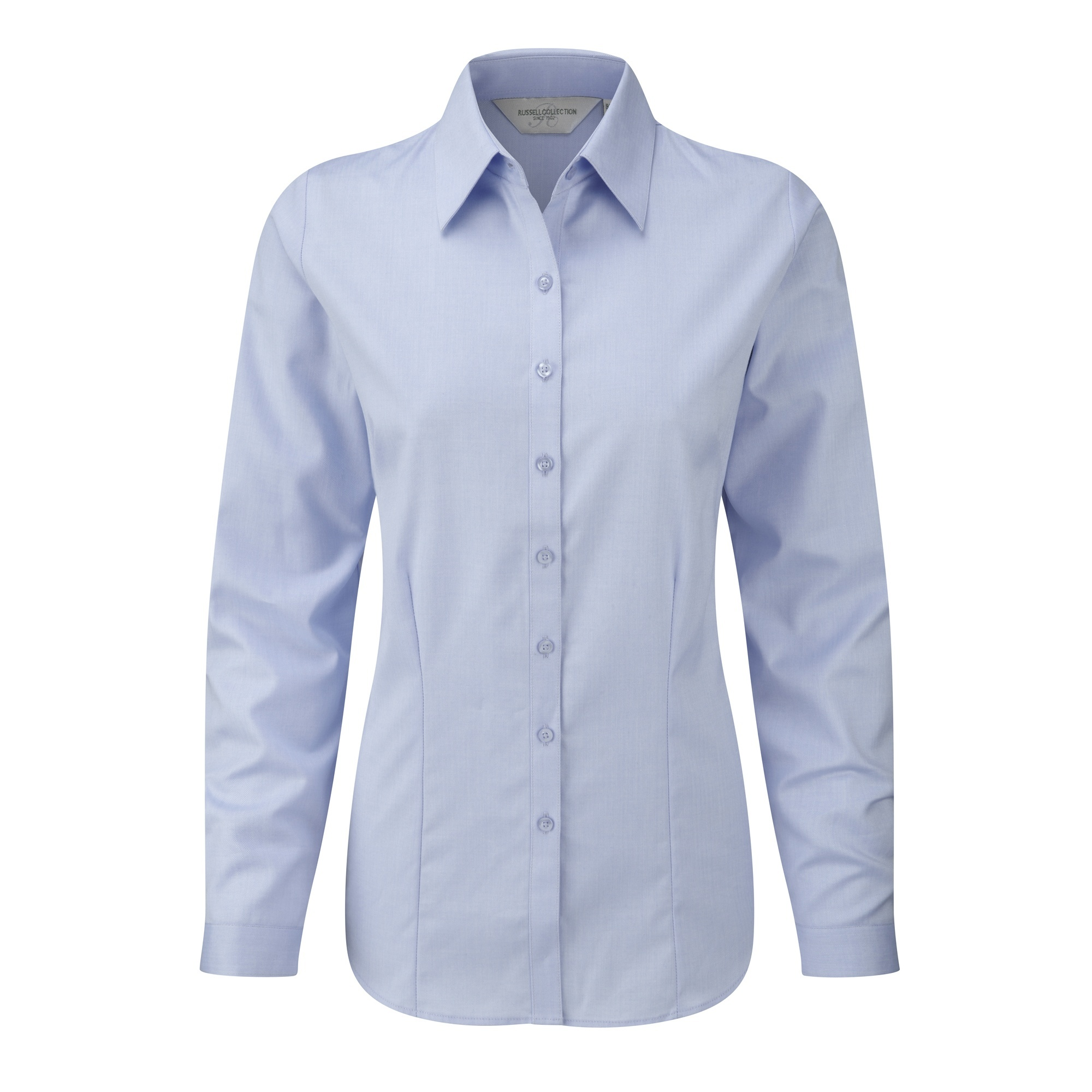 Russell Ladies/Womens Herringbone Long Sleeve Work Shirt (M) (Light Blue)