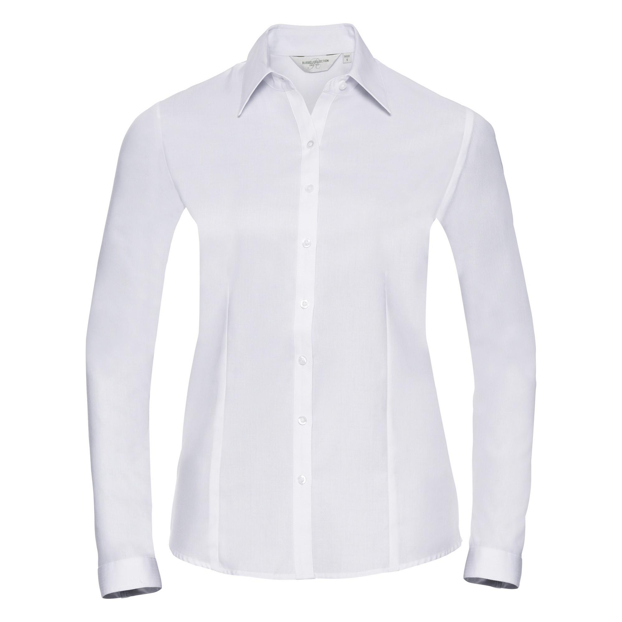 Russell Ladies/Womens Herringbone Long Sleeve Work Shirt (M) (White)