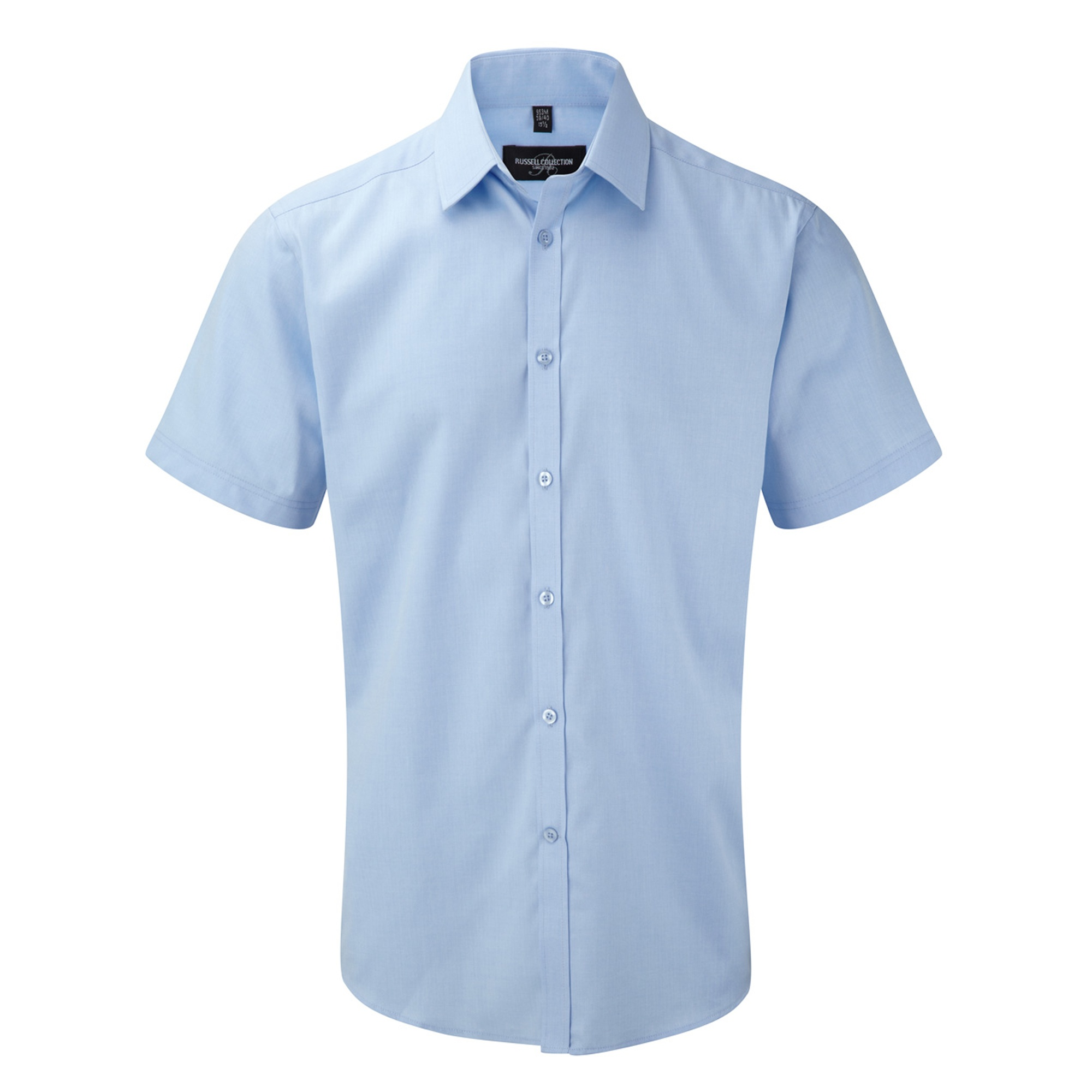 Russell Mens Short Sleeve Herringbone Work Shirt (18.5) (Light Blue)