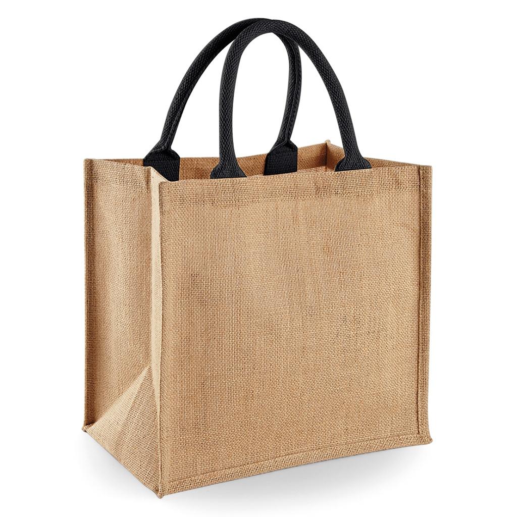 14 Litres BC2792 Westford Mill Jute Mini Tote Canvas Reusable Shopping Bag