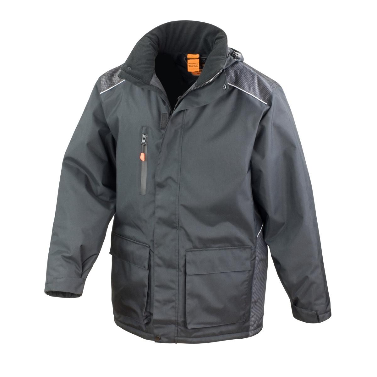 Result Mens Work-Guard Vostex Long Coat / Workwear (Waterproof & Windproof) (4XL) (Black)