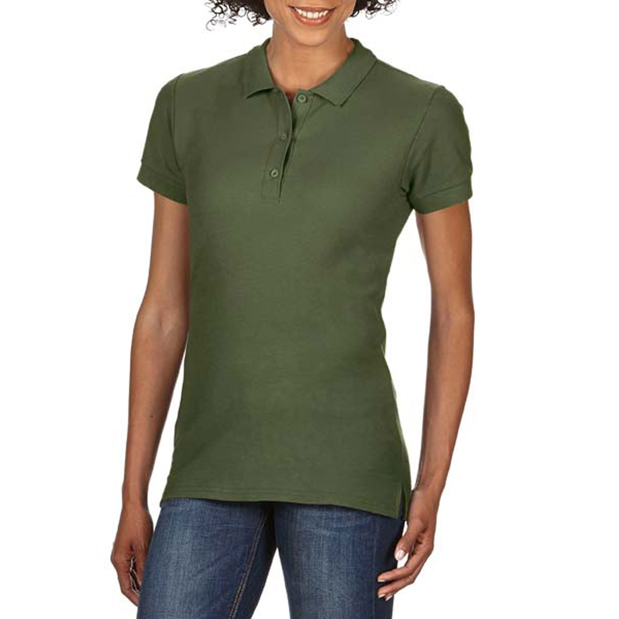 Gildan Womens/Ladies Premium Cotton Sport Double Pique Polo Shirt (L) (Military Green)