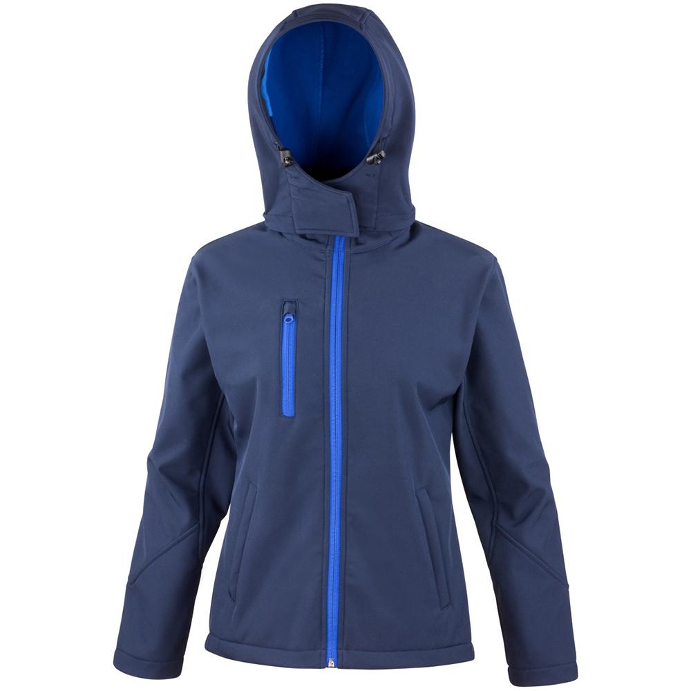 Result Core Womens/Ladies Lite Hooded Softshell Jacket (XL) (Navy/Royal)