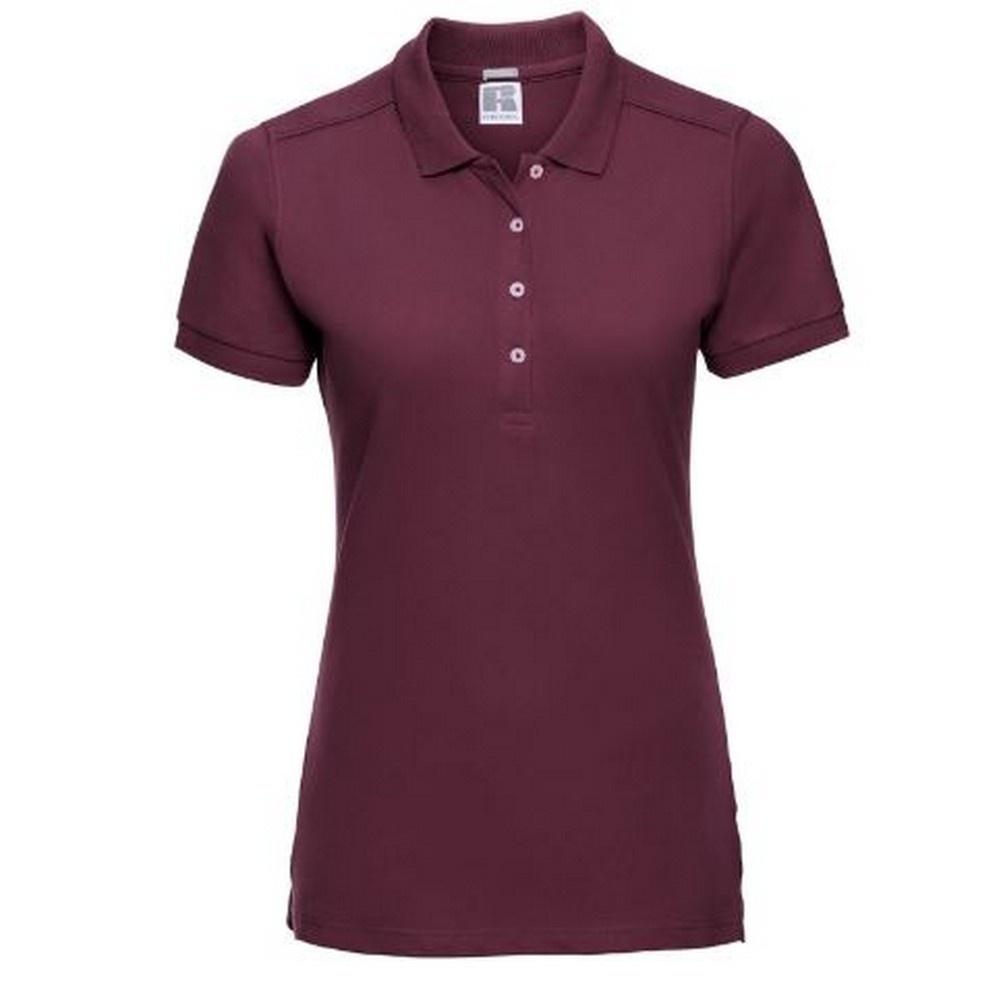 Russell Womens/Ladies Stretch Short Sleeve Polo Shirt (XL) (Burgundy)