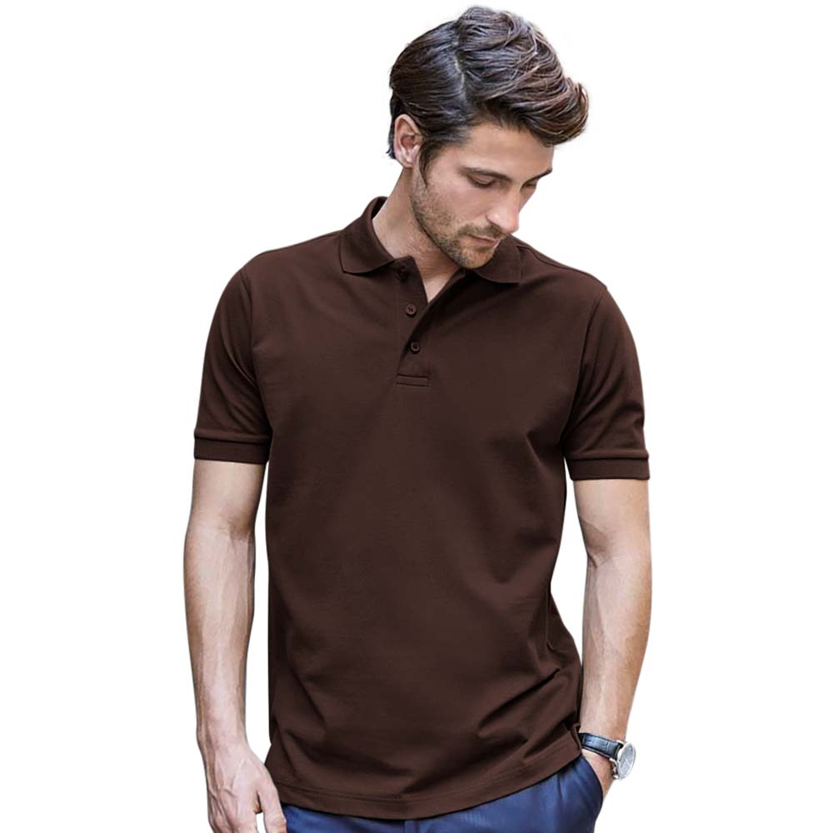 Tee Jays Mens Luxury Stretch Short Sleeve Polo Shirt (L) (Denim)