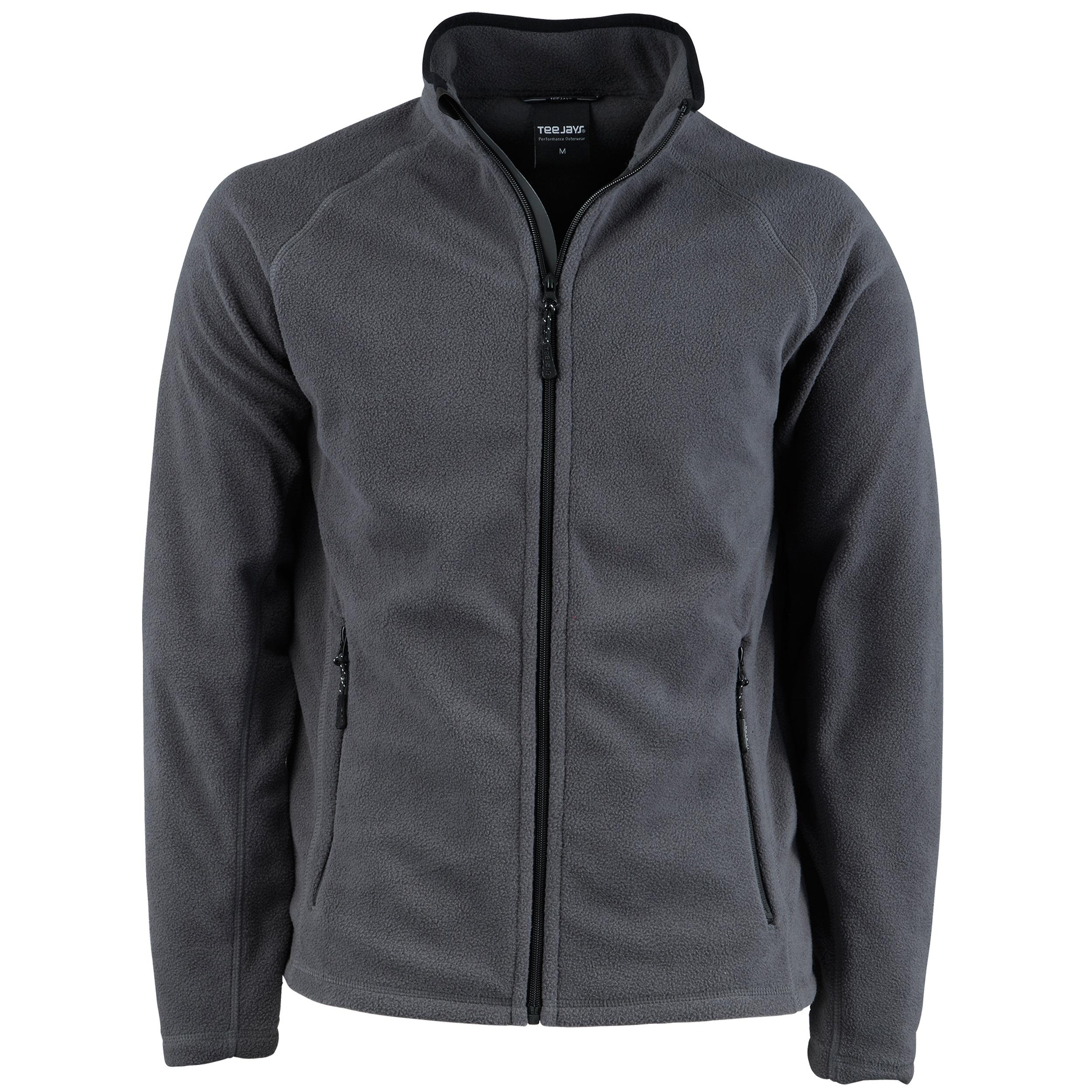Tee Jays Mens Full Zip Active Lightweight Fleece Jacket (XL) (Dark Grey)